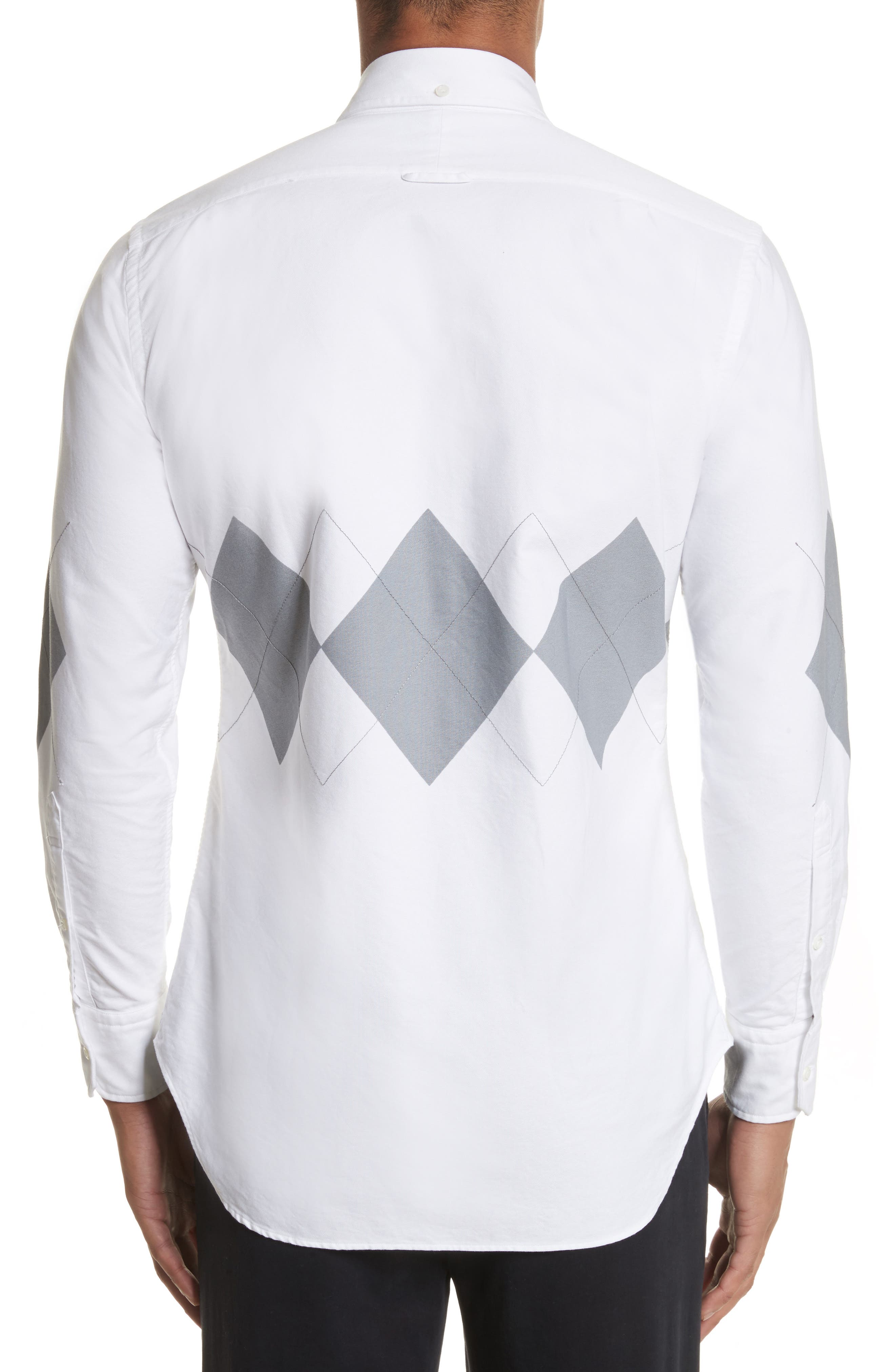 Argyle Print Woven Shirt,                             Alternate thumbnail 2, color,                             White