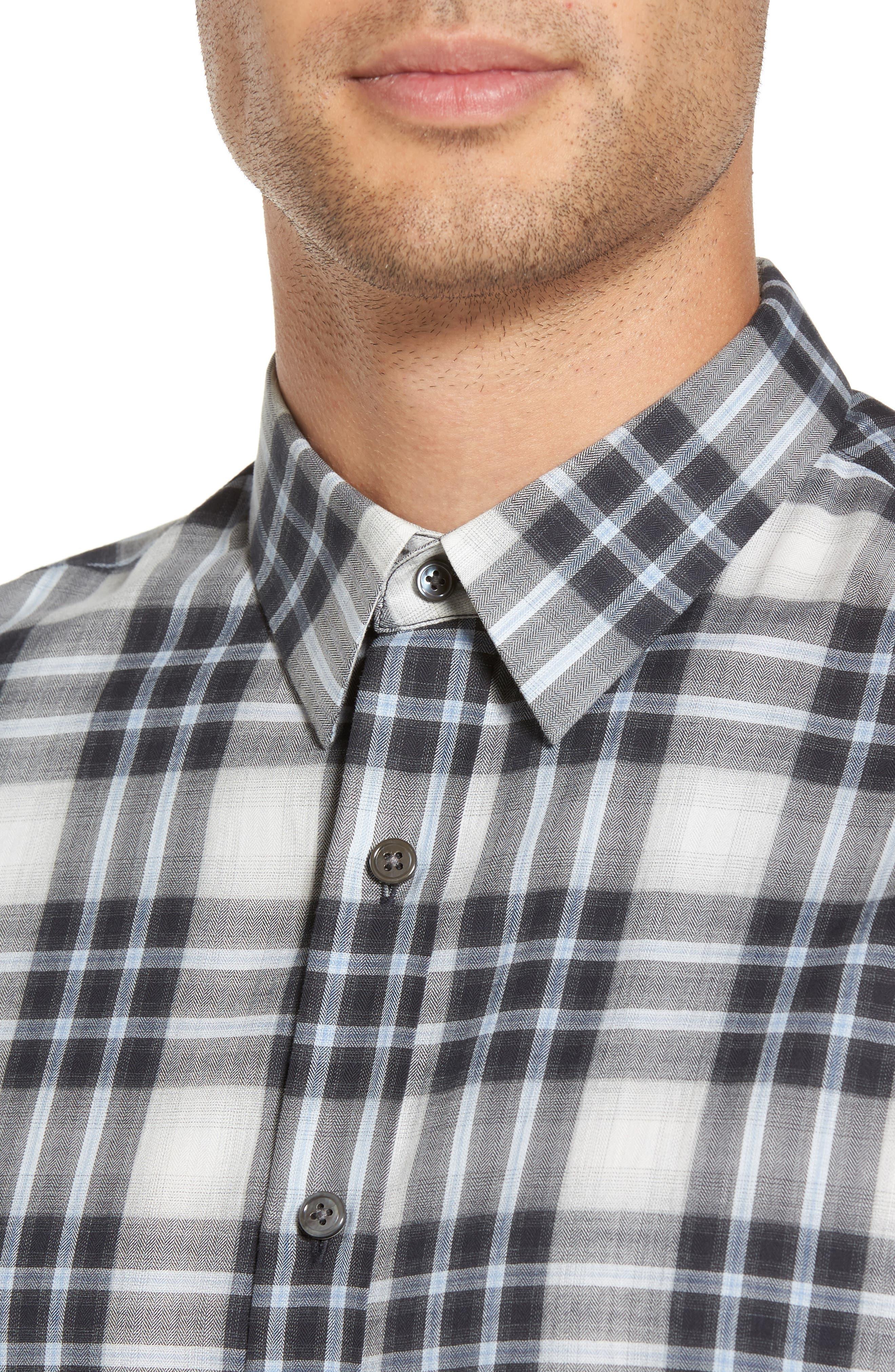 Trim Fit Plaid Sport Shirt,                             Alternate thumbnail 4, color,                             Larkspur Blue