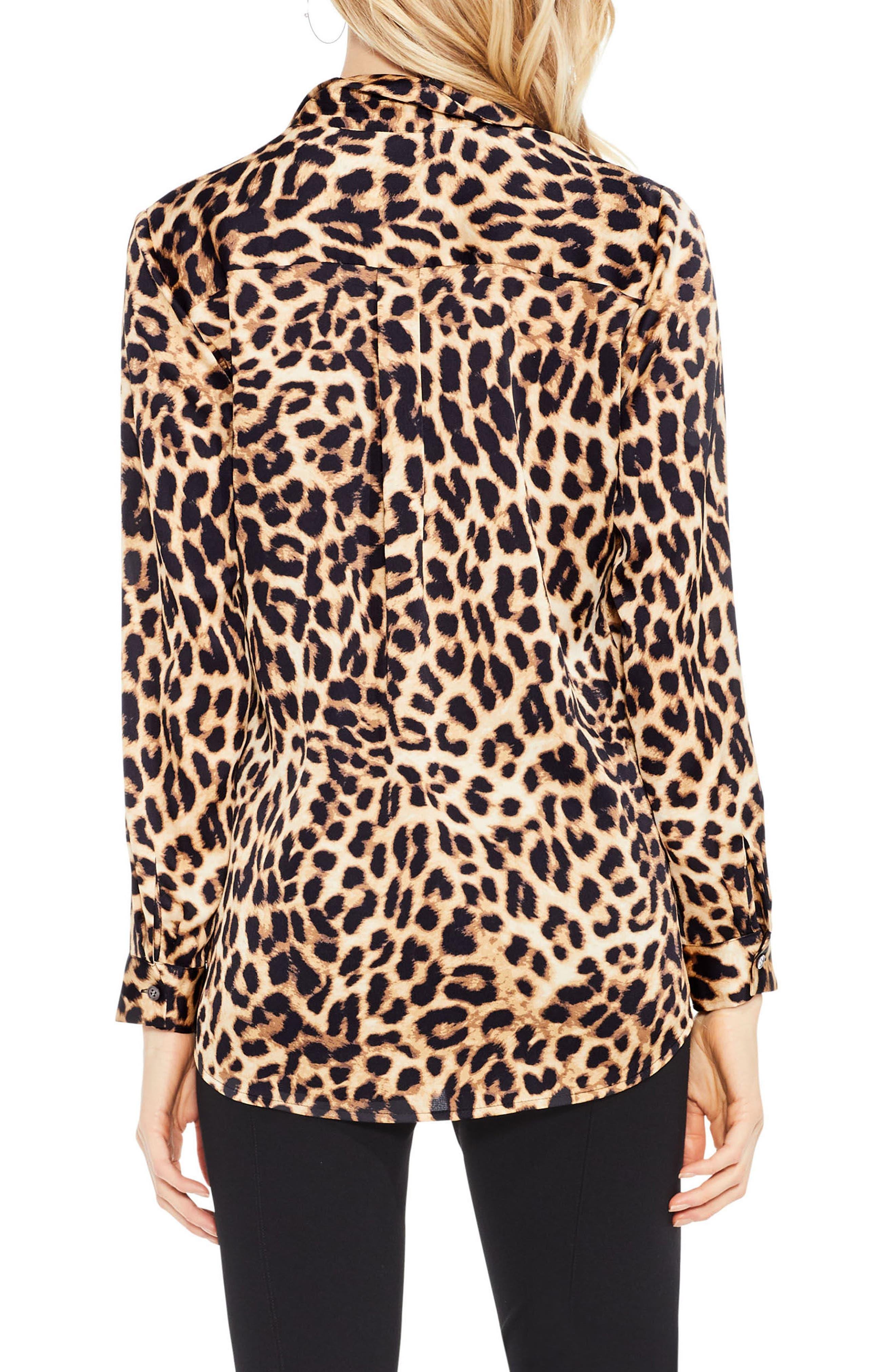 Leopard Print Blouse,                             Alternate thumbnail 2, color,                             Rich Black