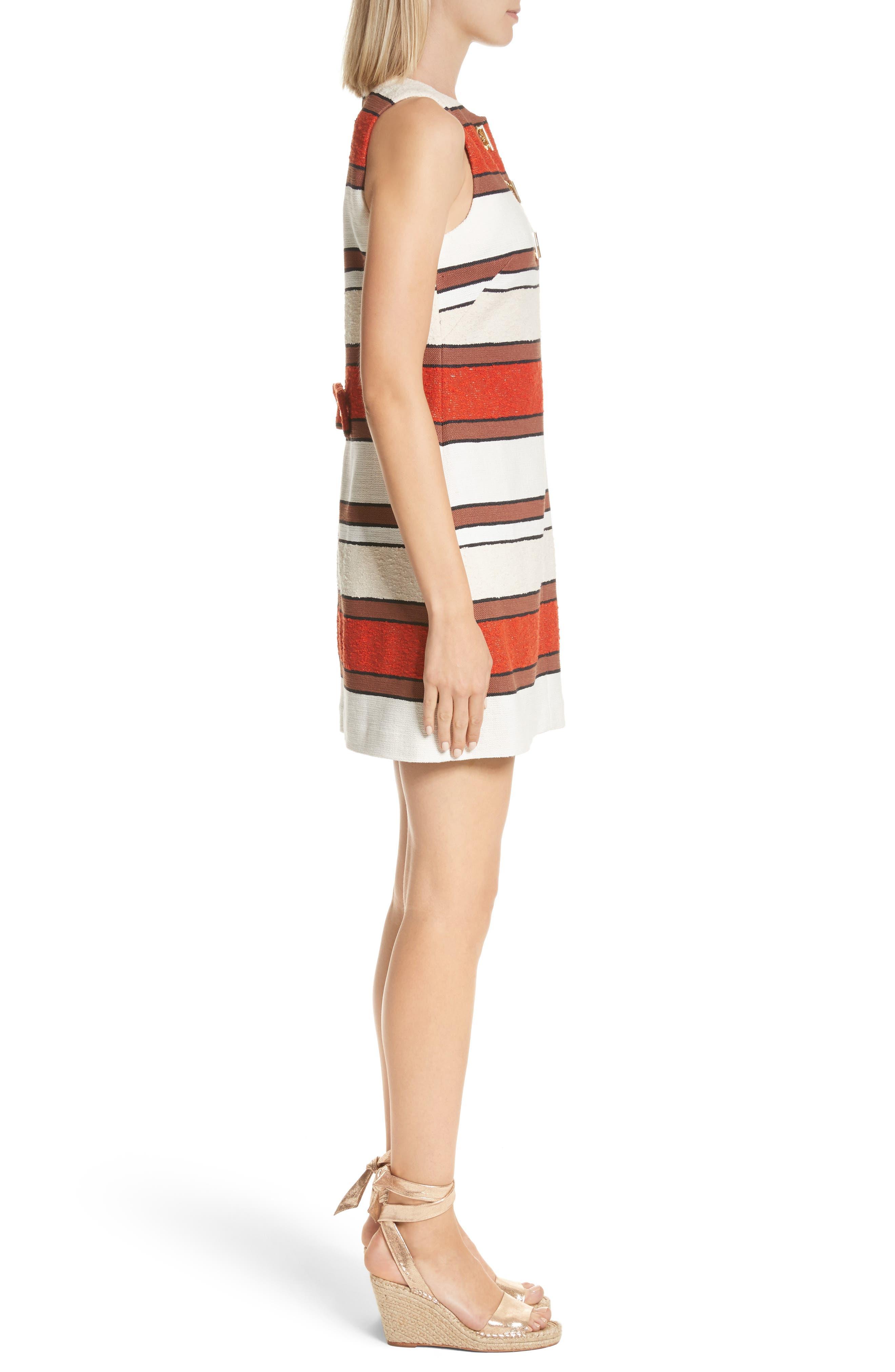 Grommet Detail Stripe Shift Dress,                             Alternate thumbnail 3, color,                             Poppy