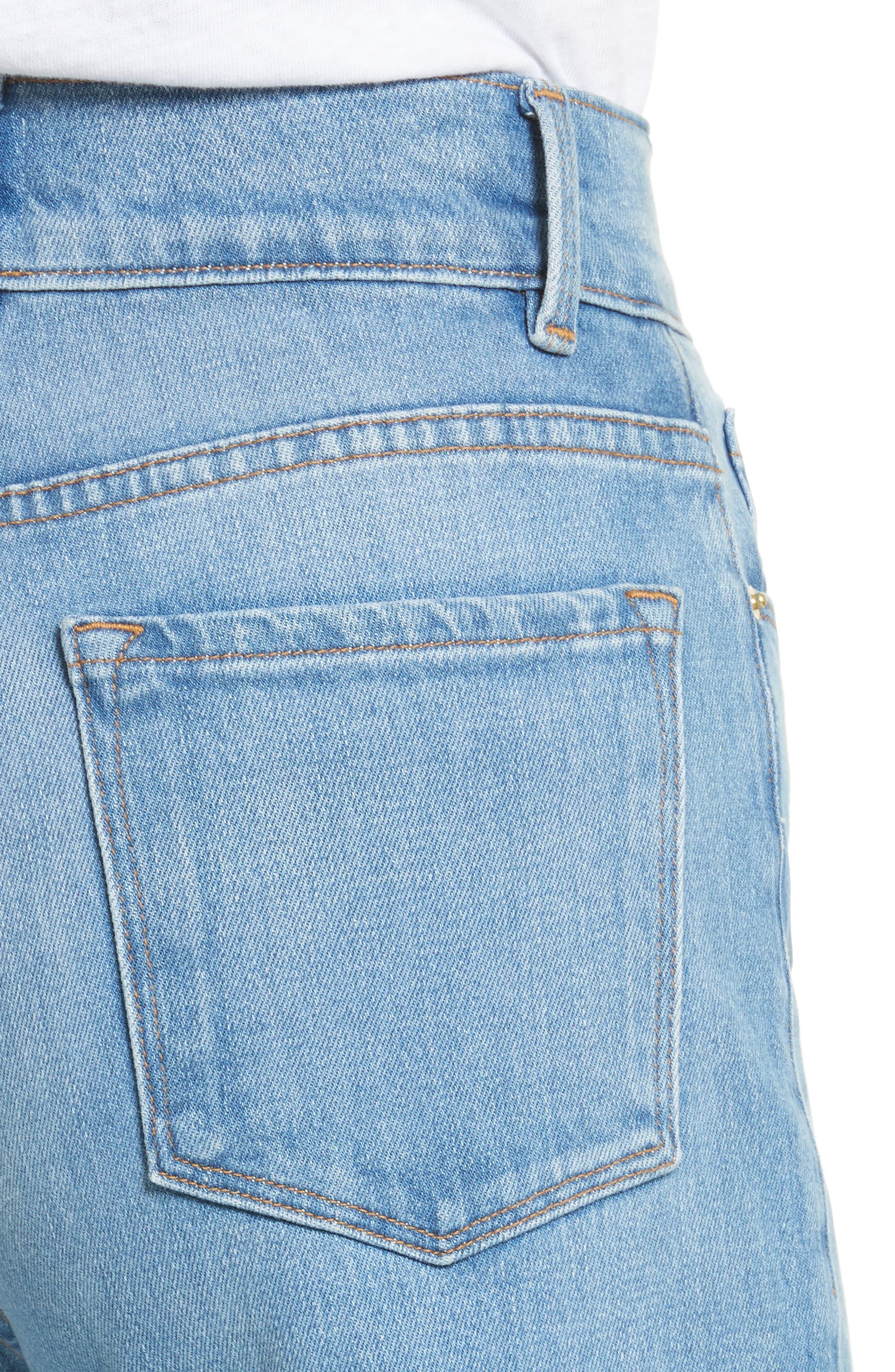 Le Palazzo High Waist Raw Edge Jeans,                             Alternate thumbnail 5, color,                             Opus