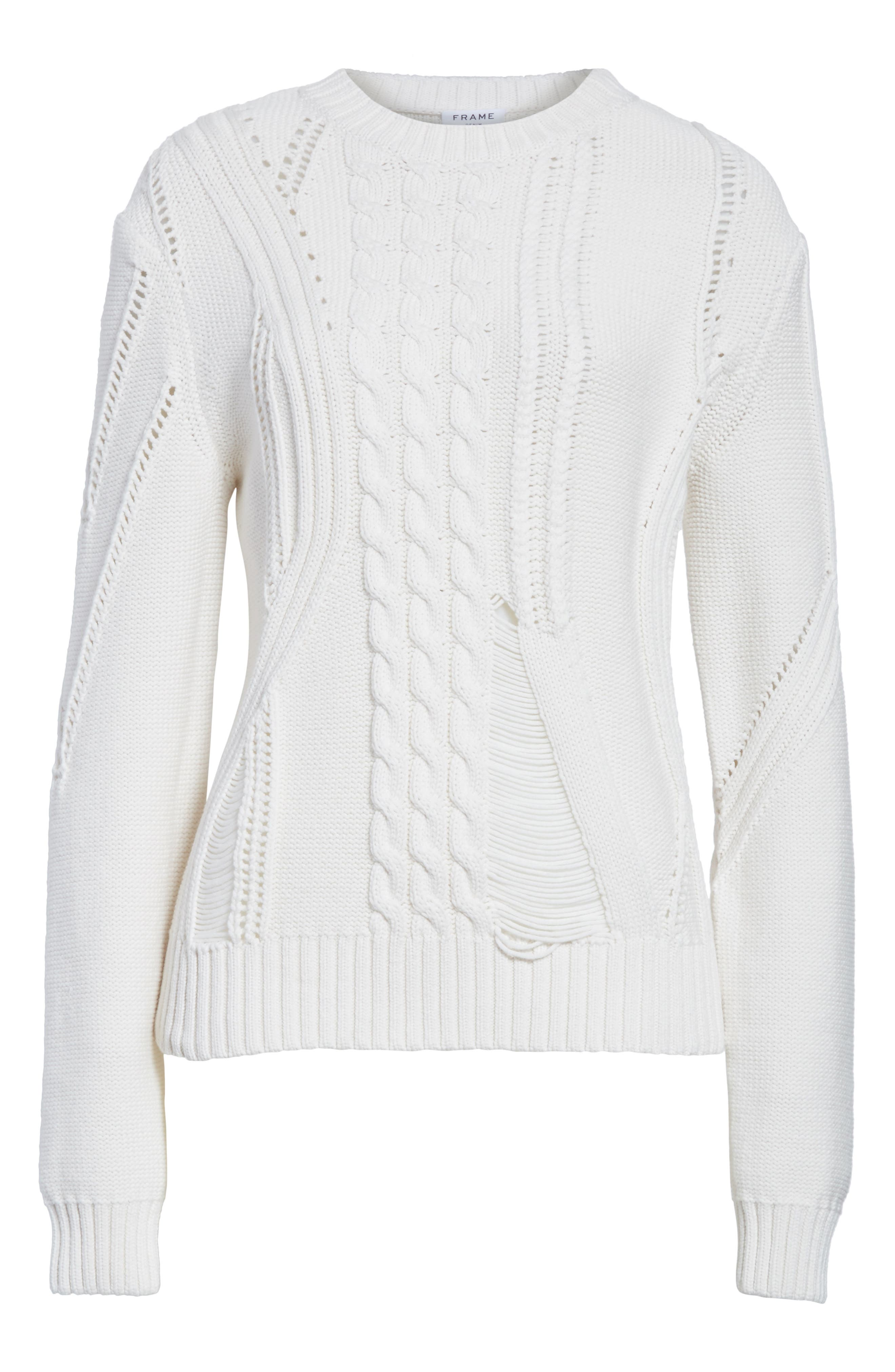 Cable Knit Sweater,                             Alternate thumbnail 7, color,                             Off White