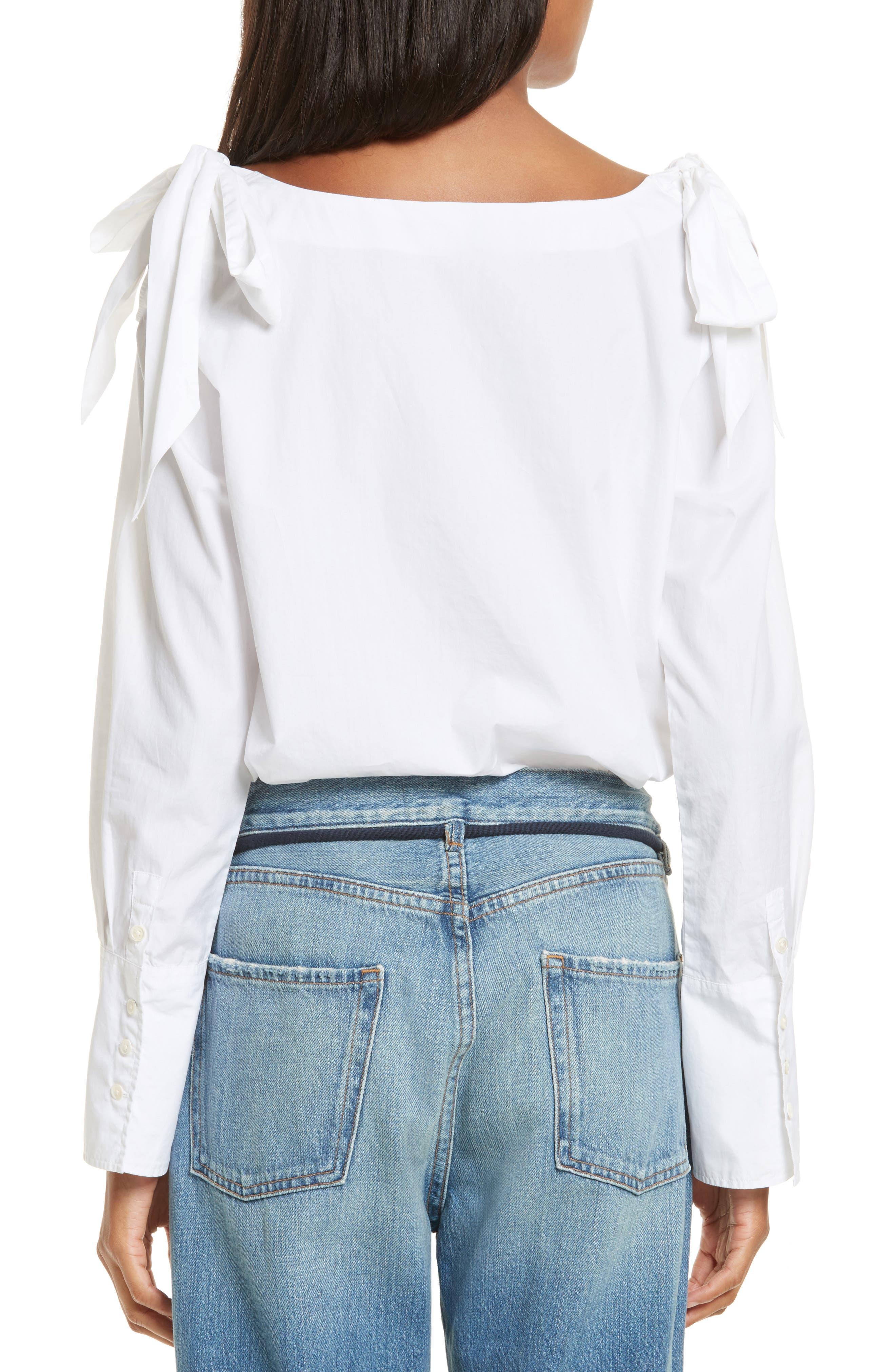 Alternate Image 3  - FRAME Bow Cold Shoulder Cotton Blouse