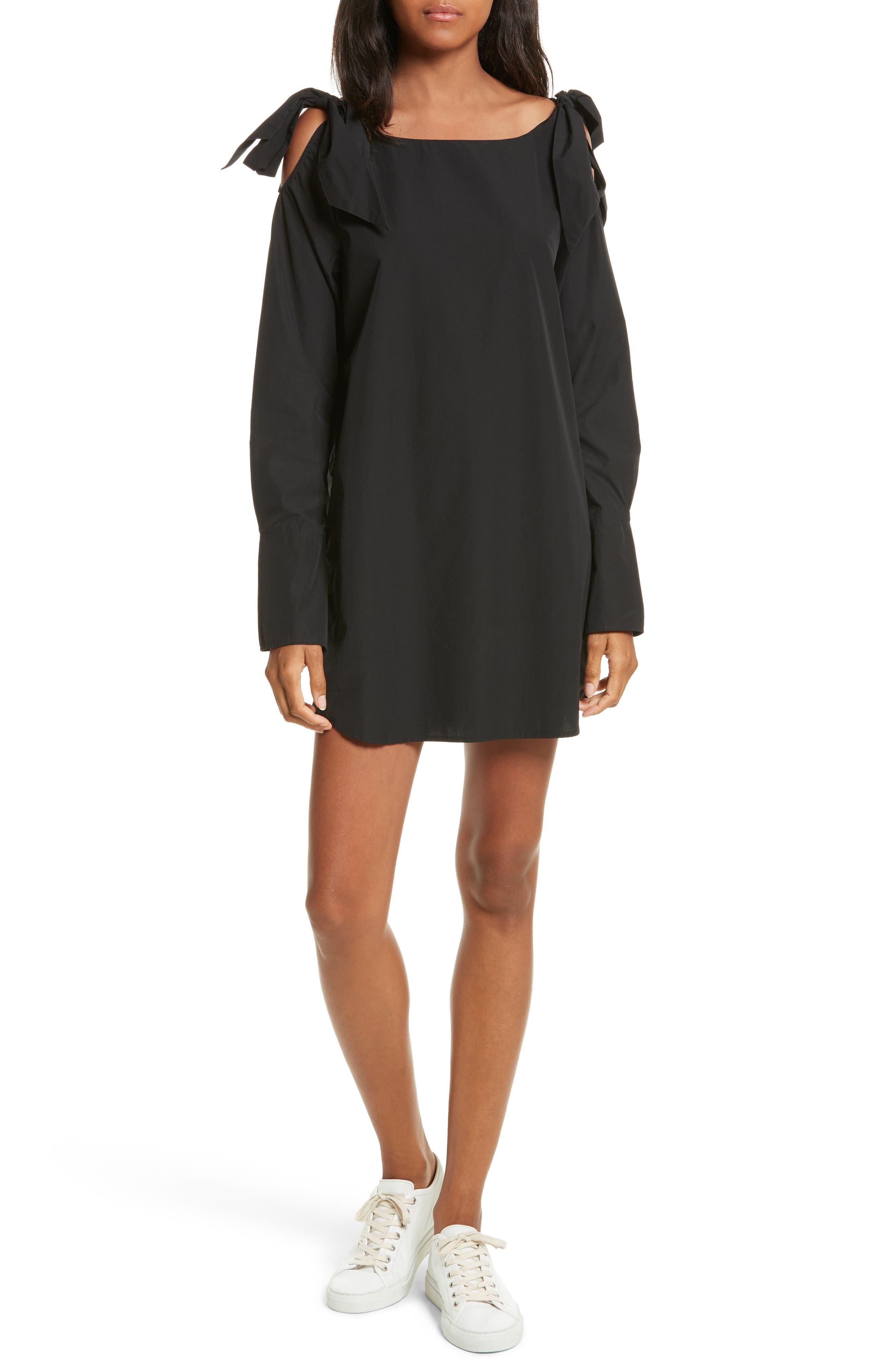 Bow Cold Shoulder Dress,                             Main thumbnail 1, color,                             Noir