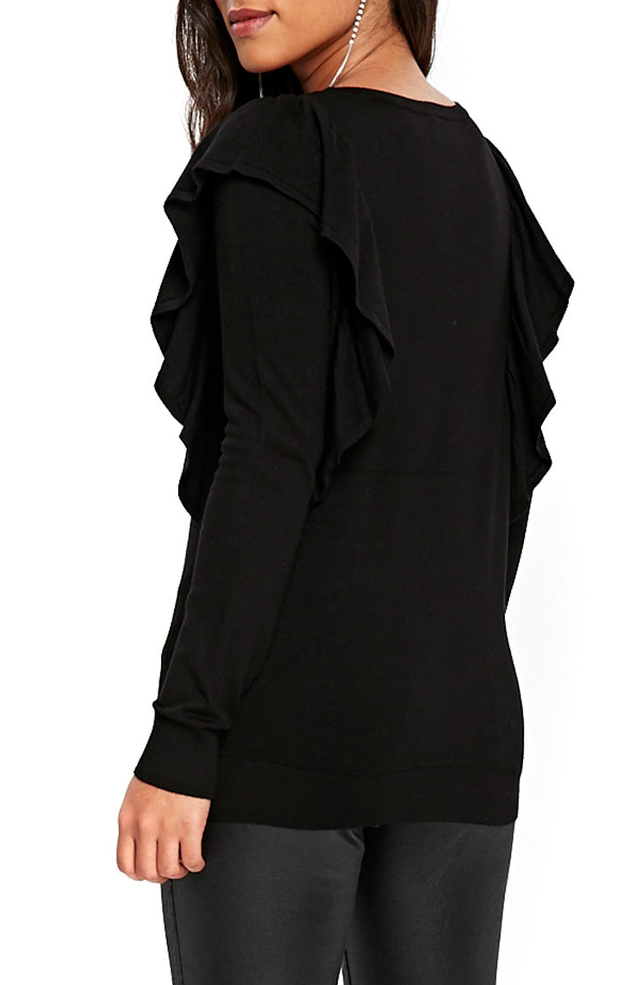 Long Sleeve Ruffle Shoulder Pullover,                             Alternate thumbnail 2, color,                             Black