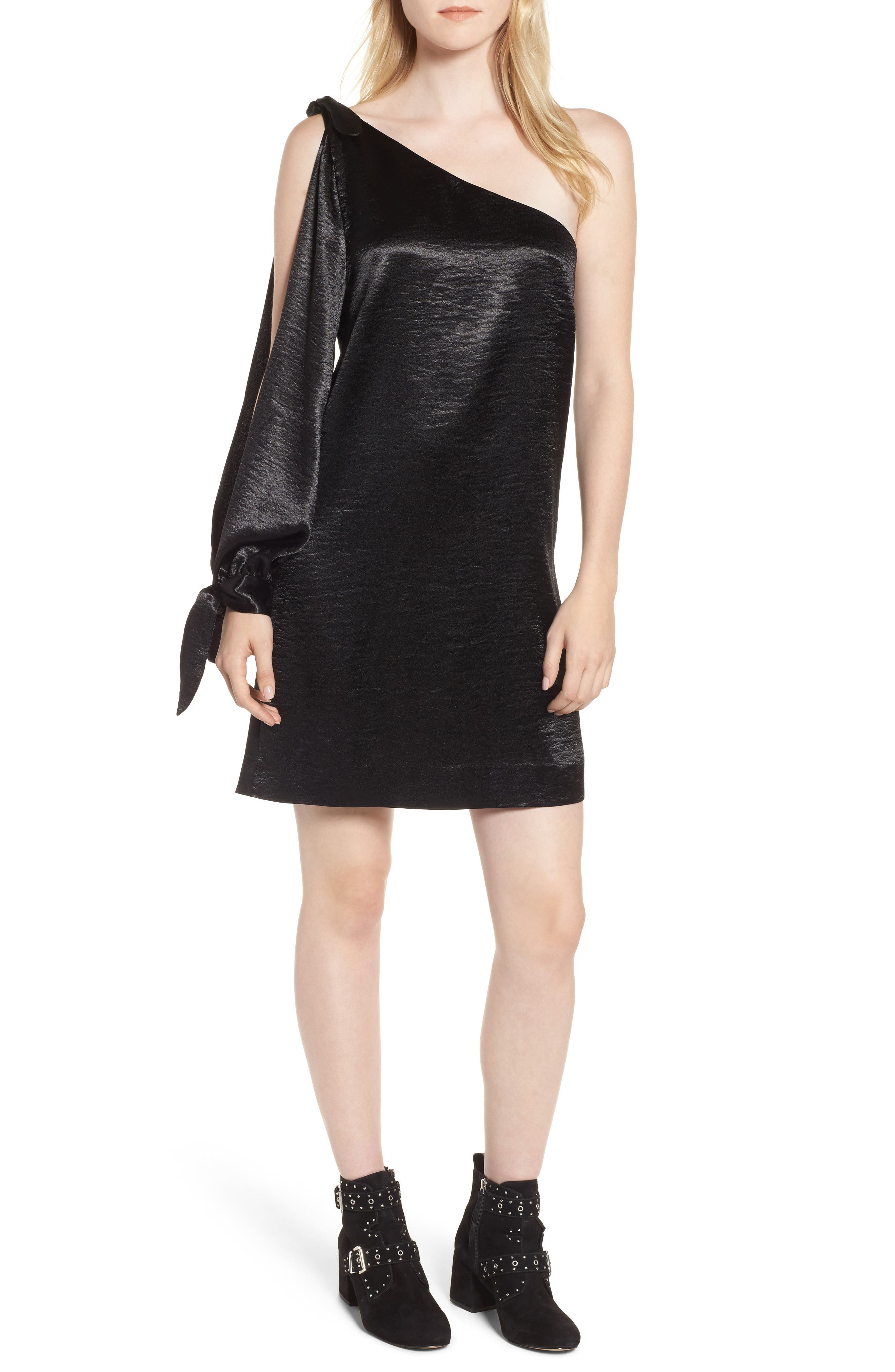 Nash One-Shoulder Shift Dress,                         Main,                         color, Black Multi