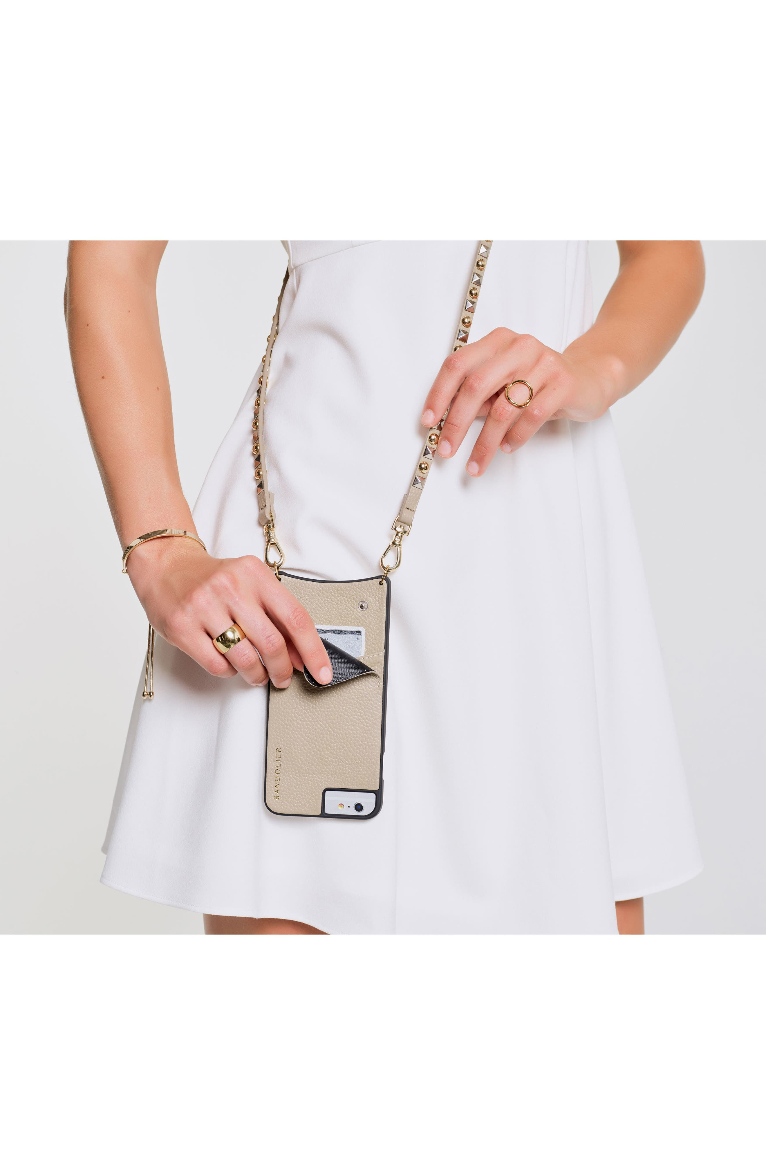 Stella iPhone 6/7/8 & 6/7/8 Plus Leather Crossbody Case,                             Alternate thumbnail 9, color,                             Pebble/ Gold/ Silver