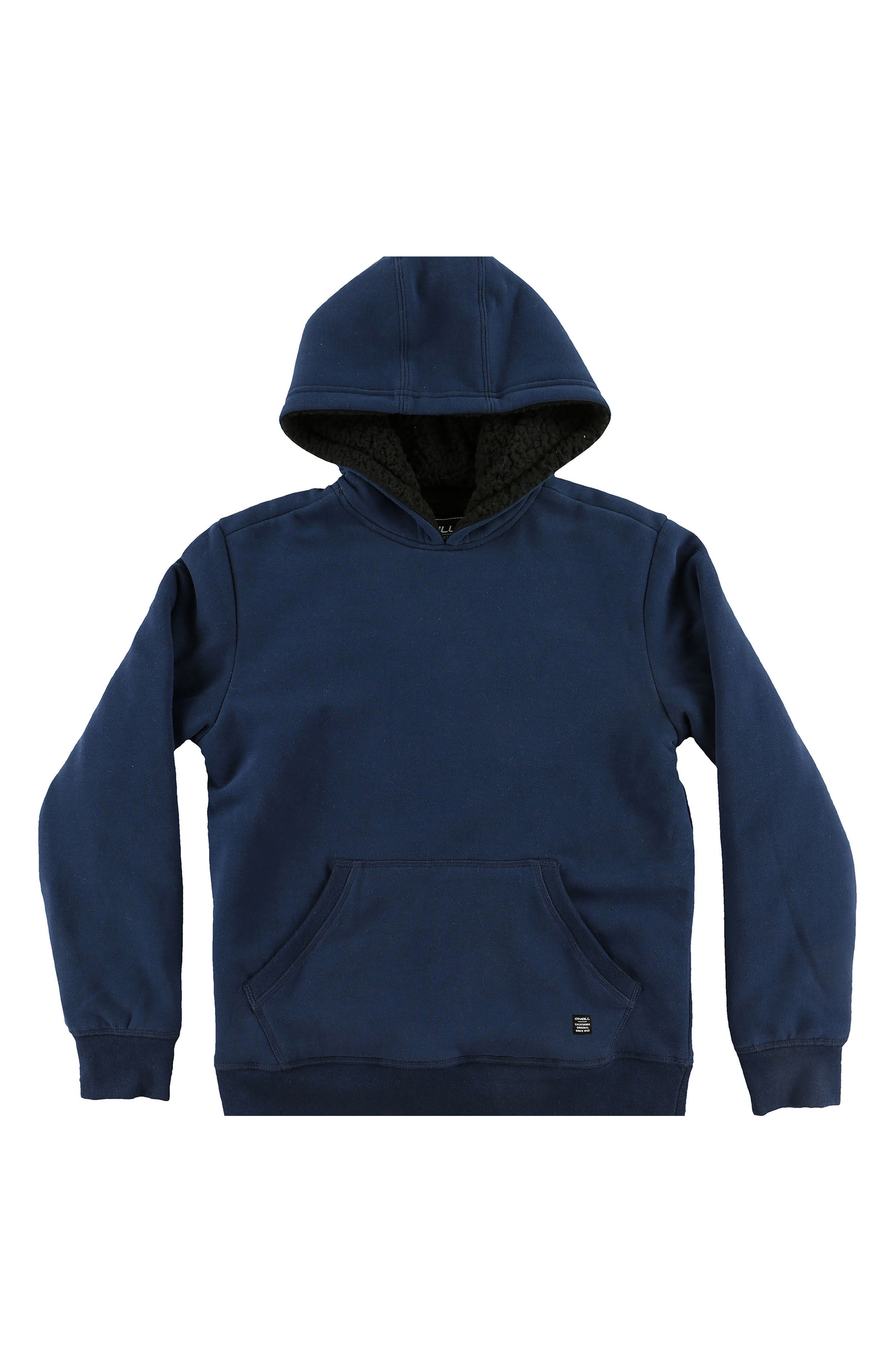 Staple Plush Lined Pullover Hoodie,                         Main,                         color, Navy
