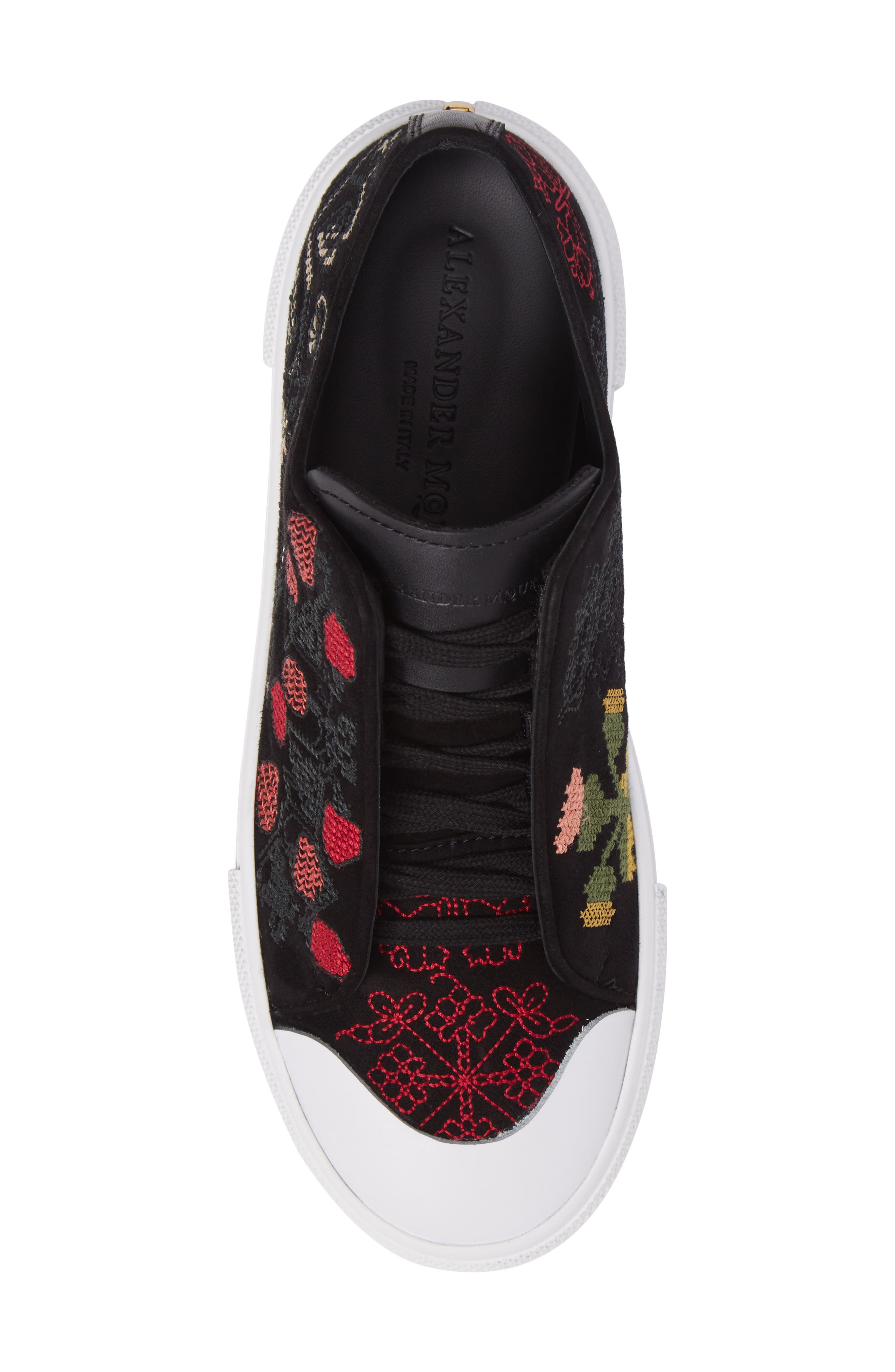 Cap Toe Platform Sneaker,                             Alternate thumbnail 5, color,                             Black/ Red
