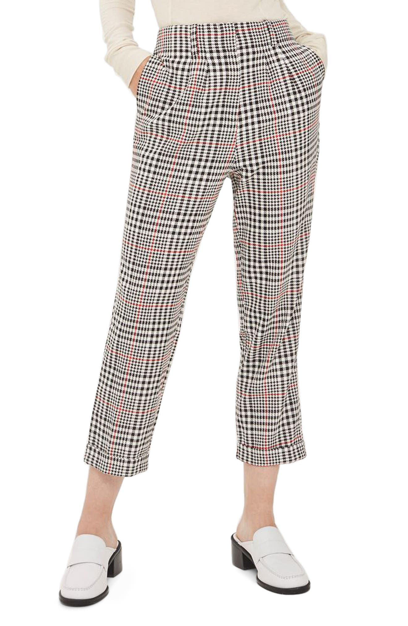 Main Image - Topshop Red Pop Check High Waist Mensy Trousers