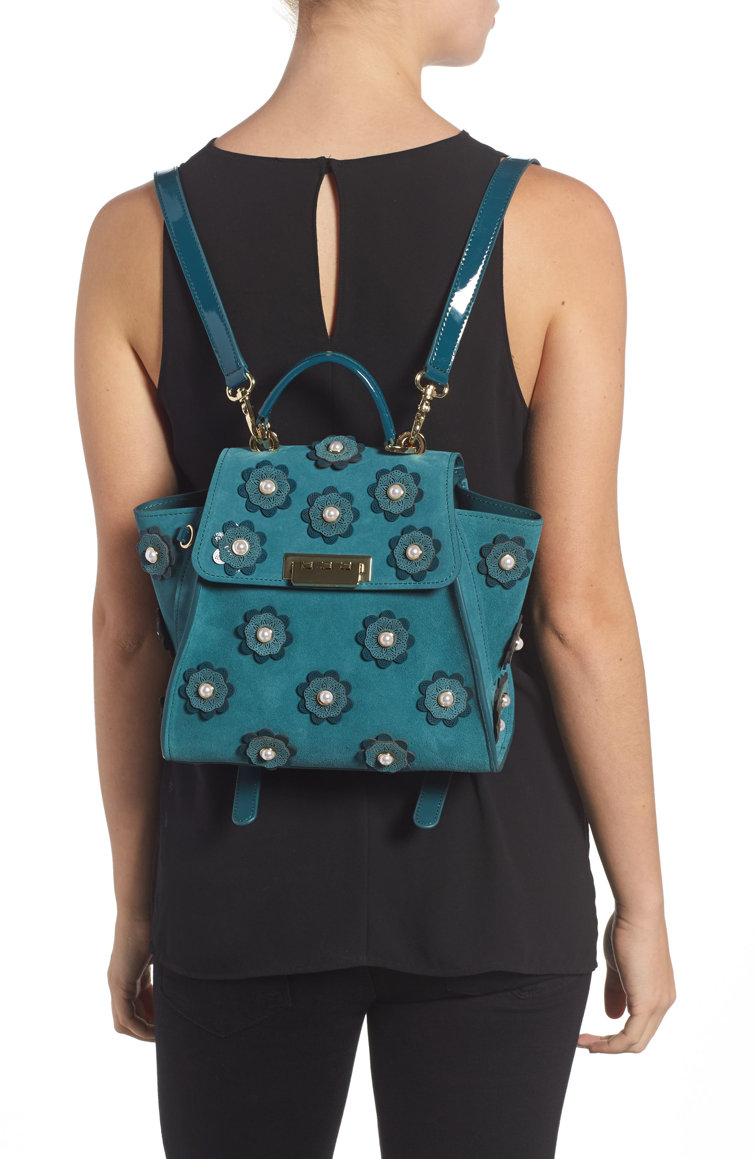 Eartha Iconic Convertible Leather Backpack,                             Alternate thumbnail 2, color,                             Teal