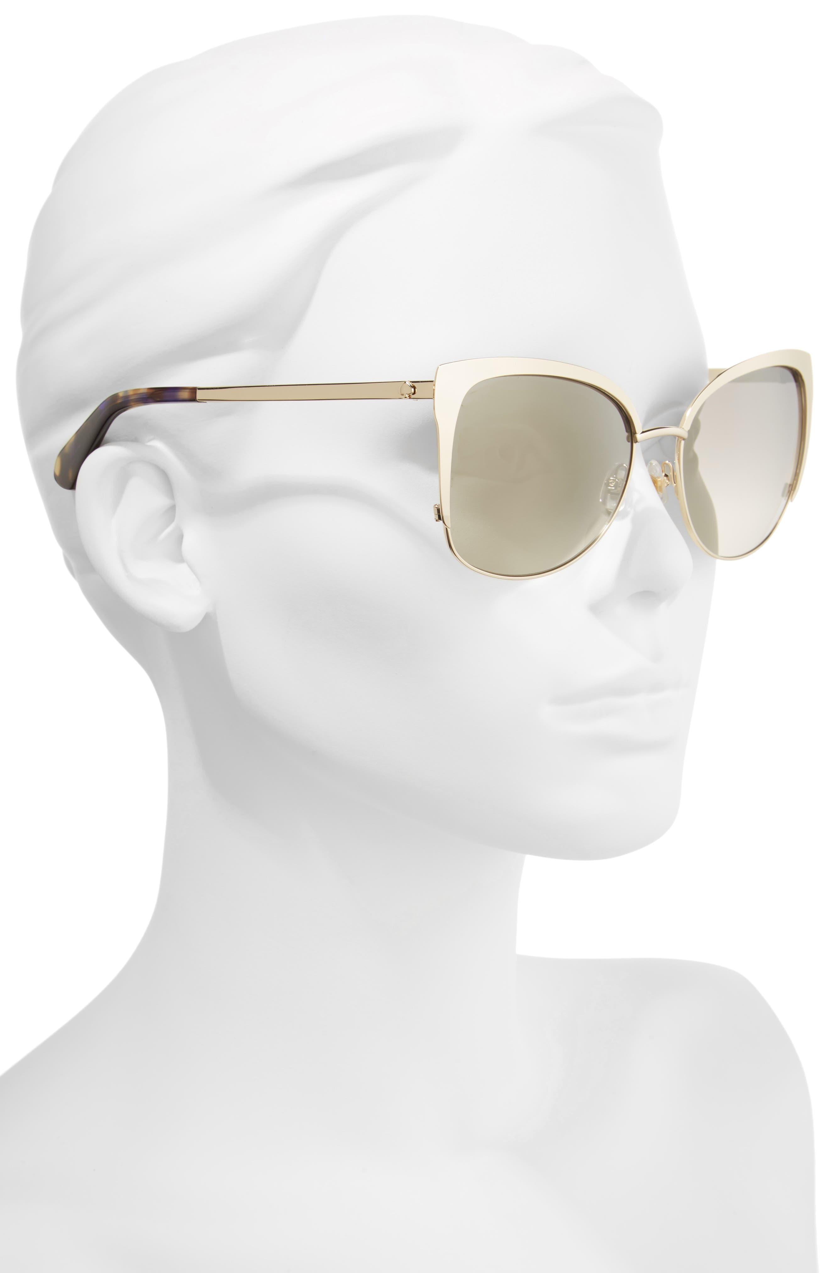 'genice' 57mm cat-eye sunglasses,                             Alternate thumbnail 2, color,                             Gold Havana