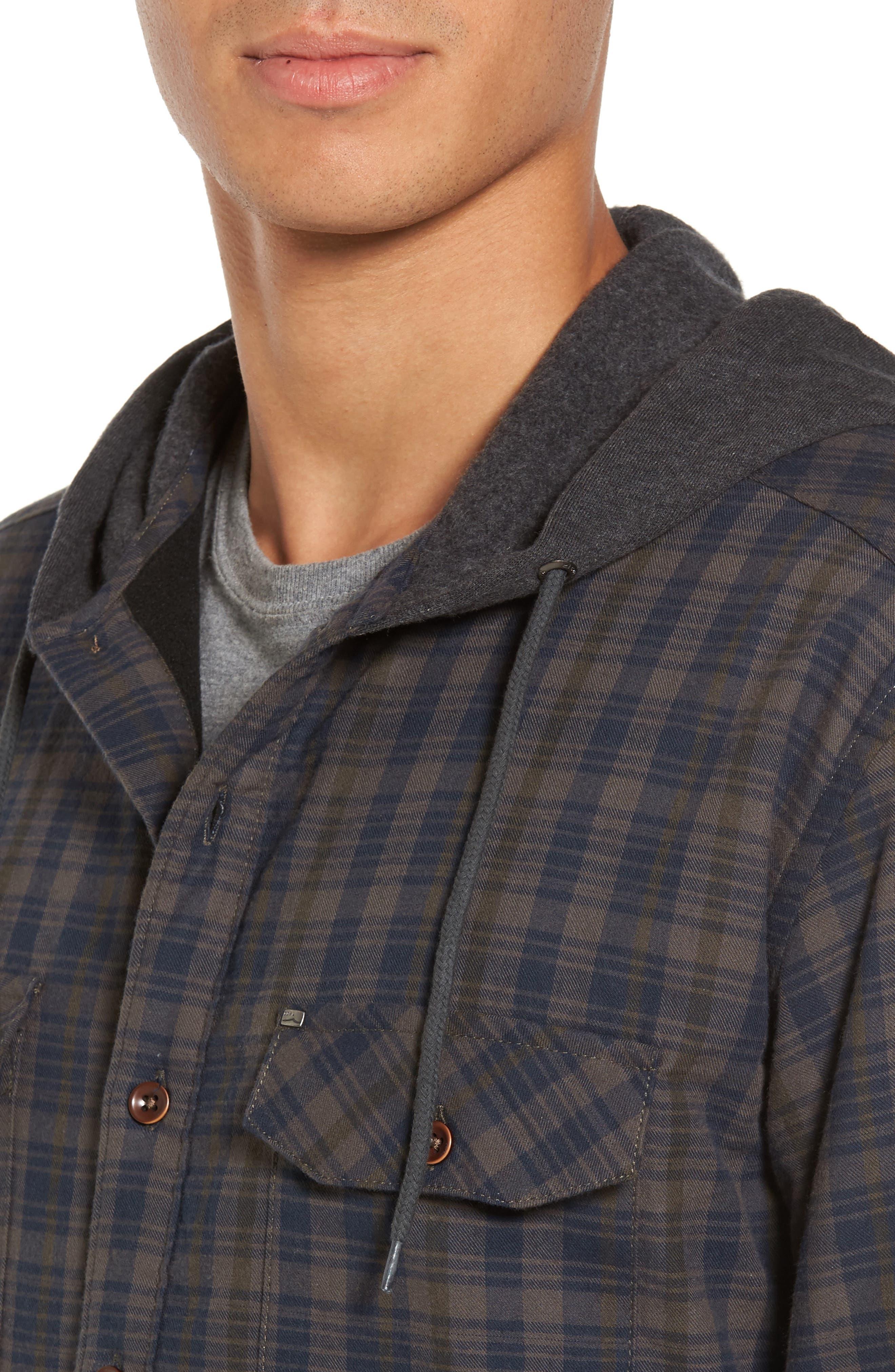 Hooded Plaid Flannel Shirt Jacket,                             Alternate thumbnail 4, color,                             Oak