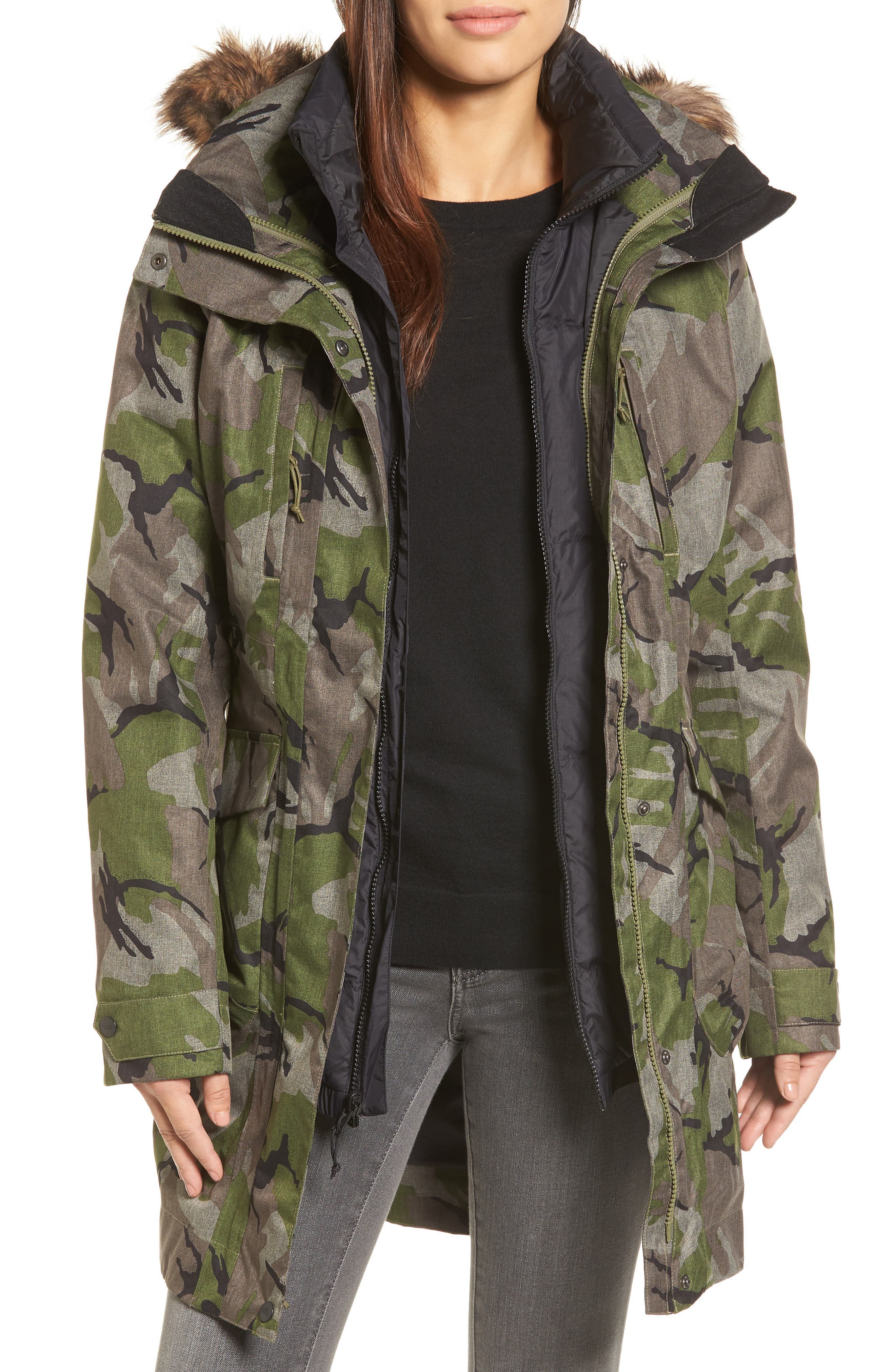 Outer Boroughs 3-in-1 TriClimate<sup>®</sup> Waterproof Jacket with Faux Fur Trim,                             Main thumbnail 1, color,                             Burnt Olive Green Disrupt Camo