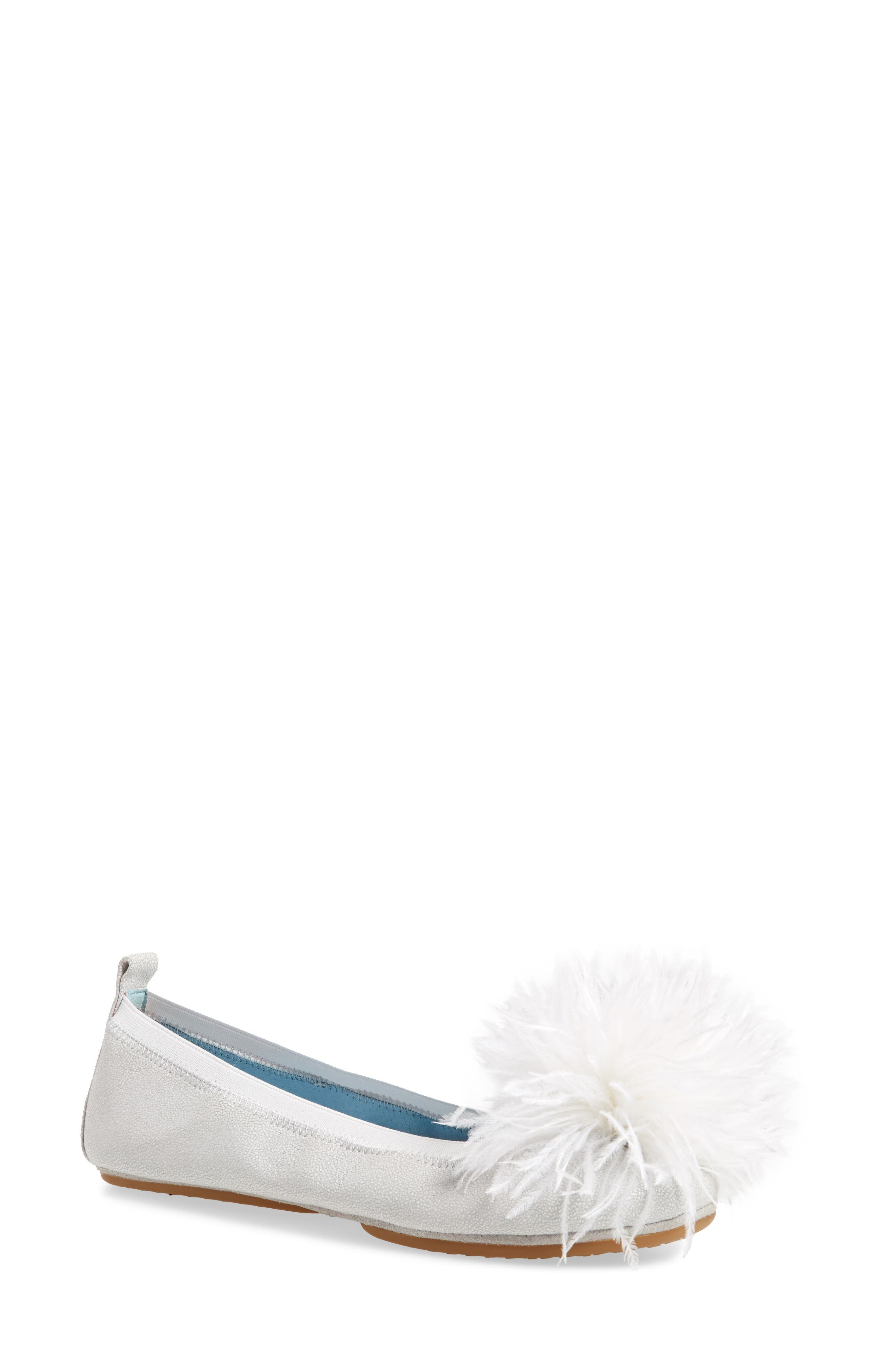 Marabou Feather Pompom Flat,                         Main,                         color, Silver Leather