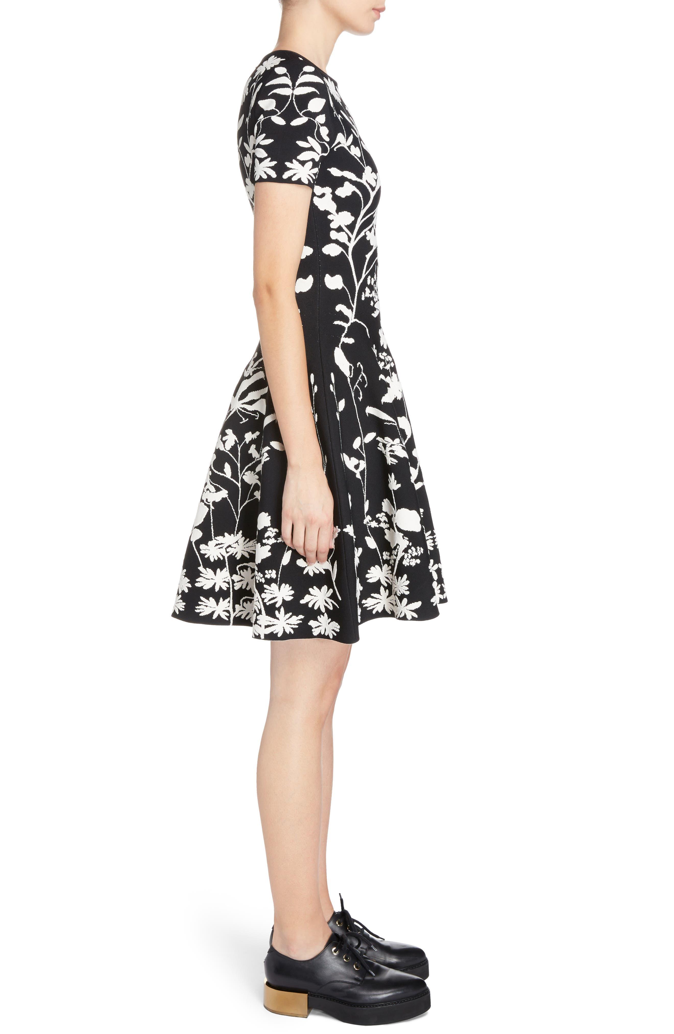 Botanical Jacquard Knit Flounce Dress,                             Alternate thumbnail 3, color,                             Black/ Ivory