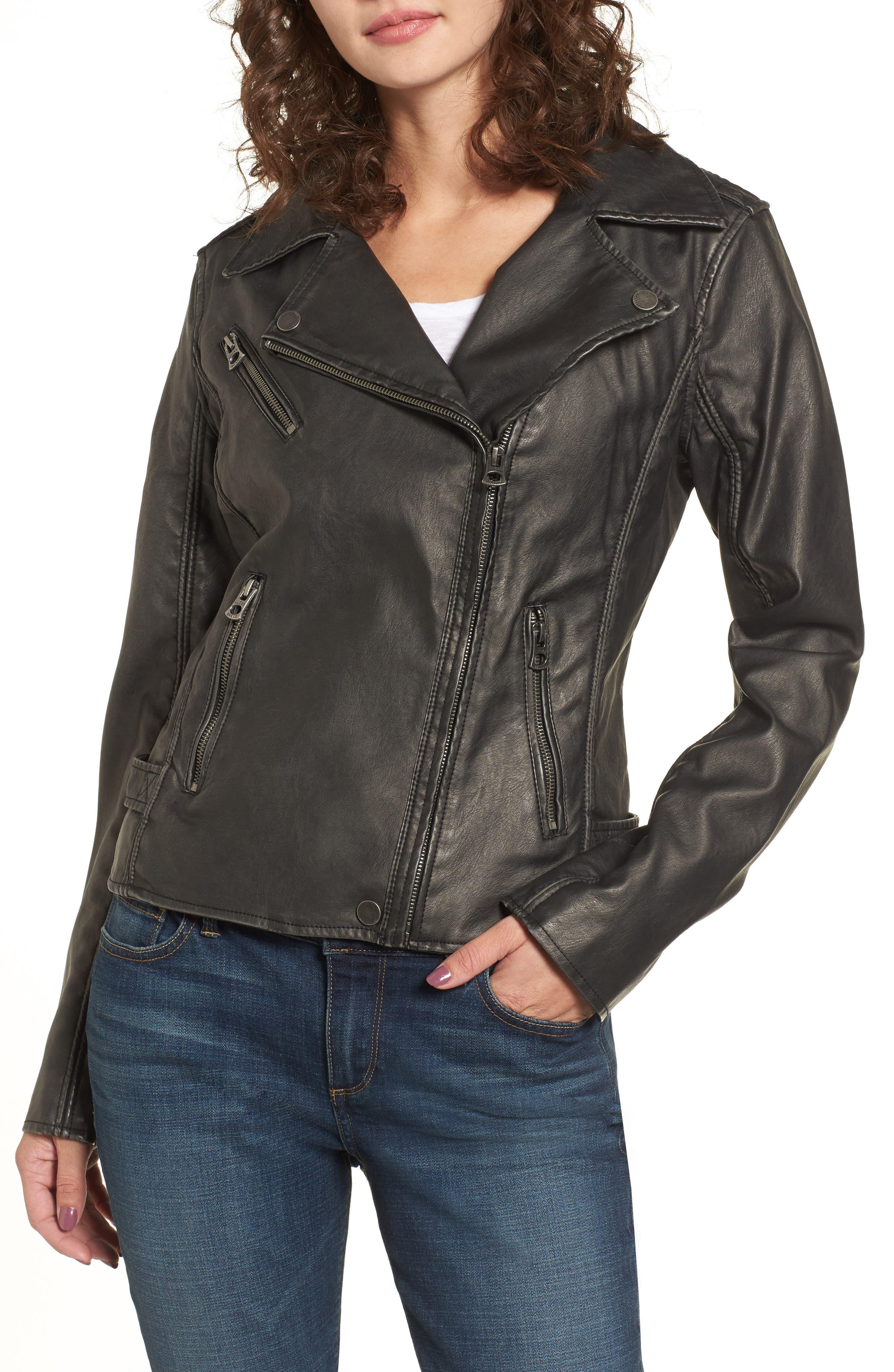 Faux Leather Jacket,                             Alternate thumbnail 5, color,                             Grey