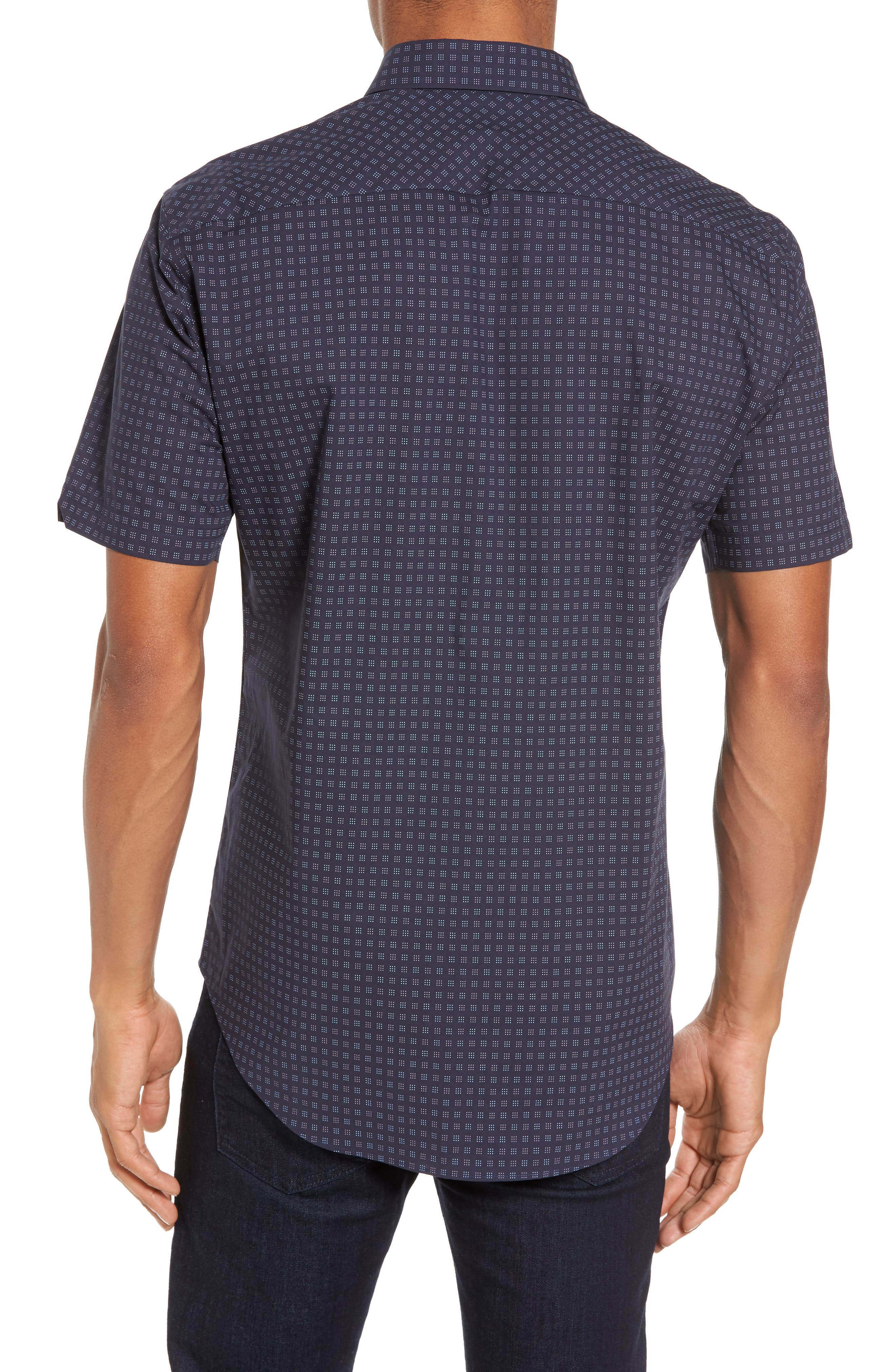 Tennant Slim Fit Dot Print Sport Shirt,                             Alternate thumbnail 2, color,                             Navy