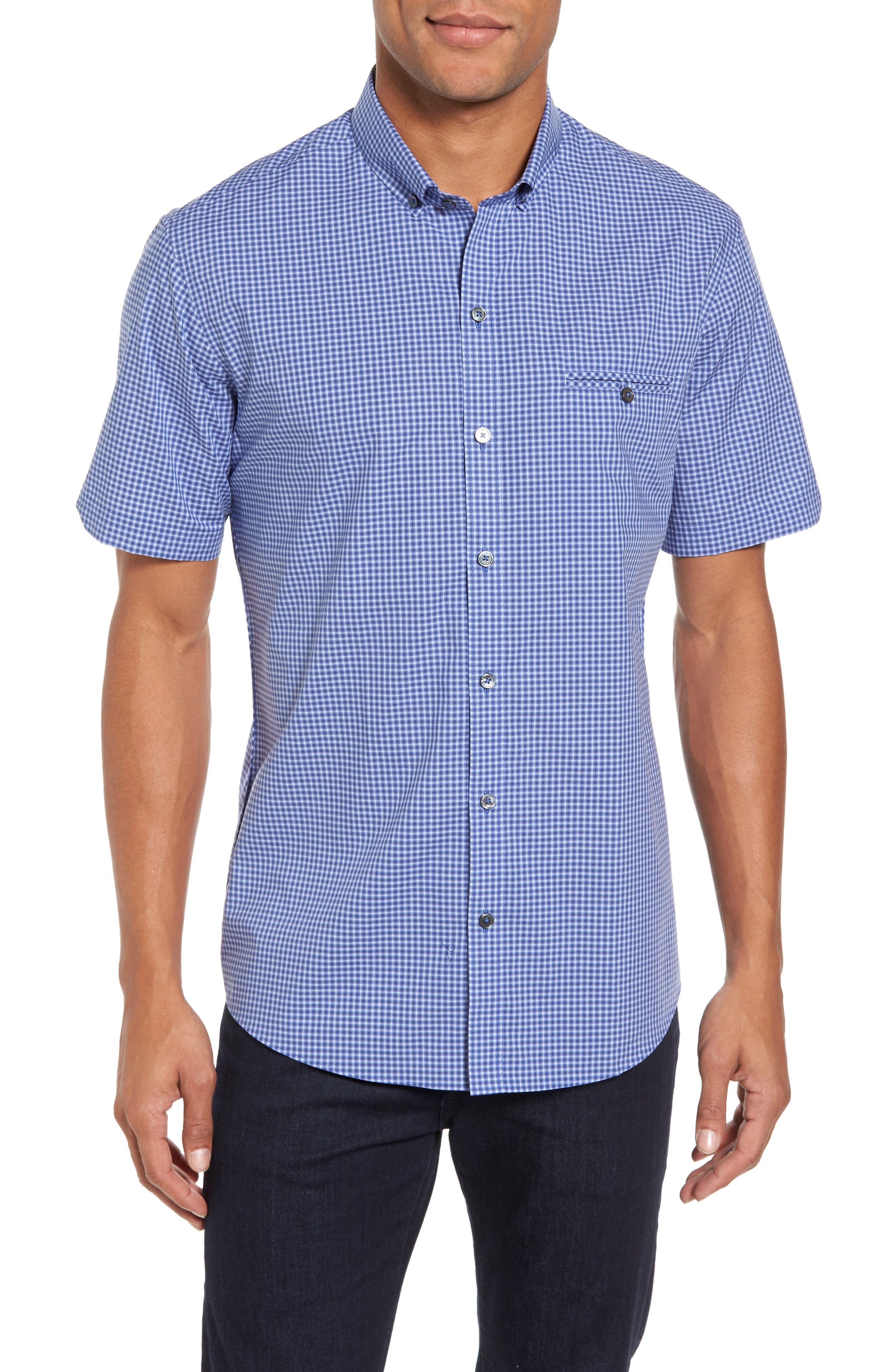 Ahmed Slim Fit Plaid Sport Shirt,                         Main,                         color, Ocean