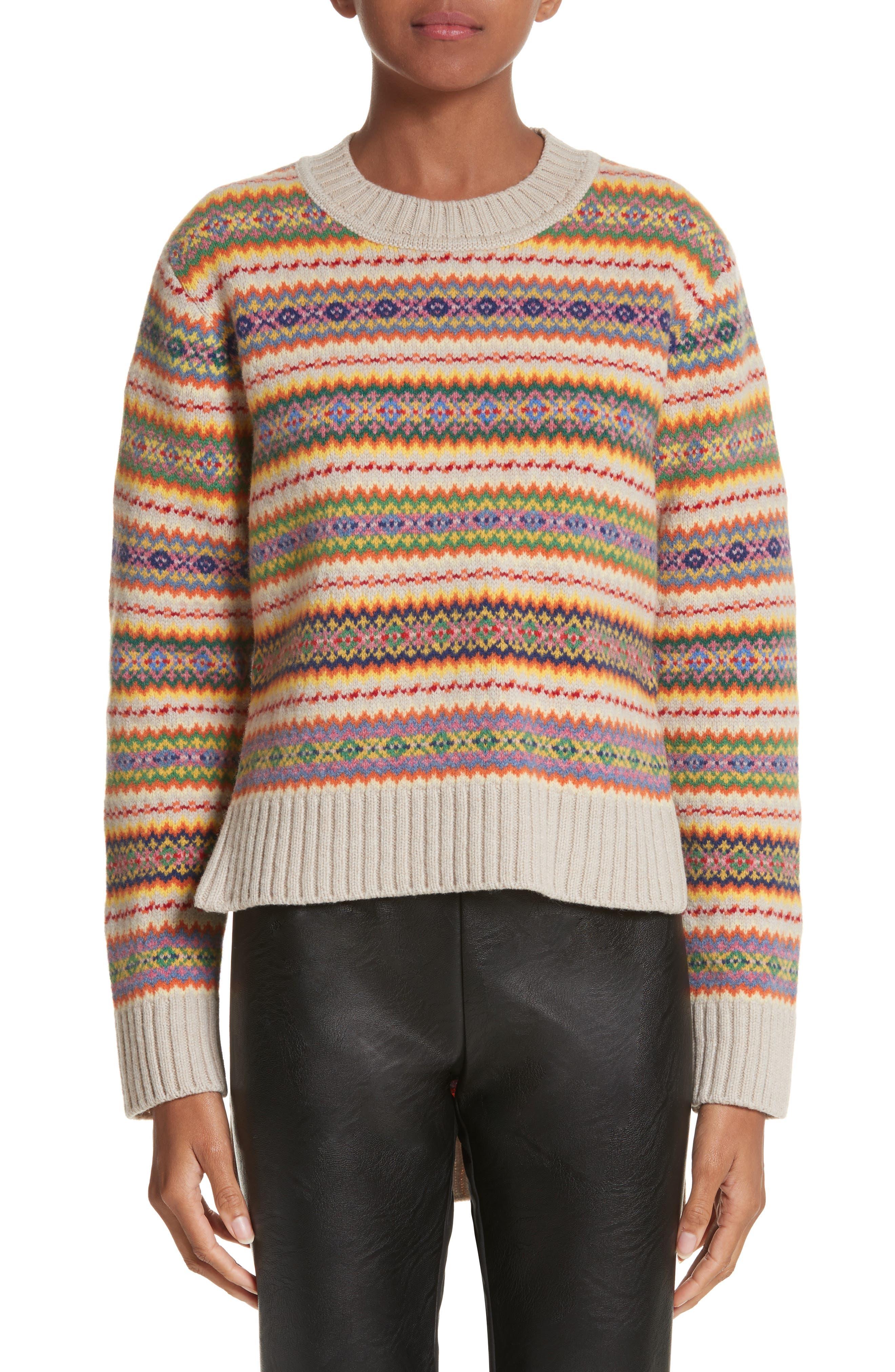 Shetland Wool Fair Isle Sweater,                         Main,                         color, Multicolor