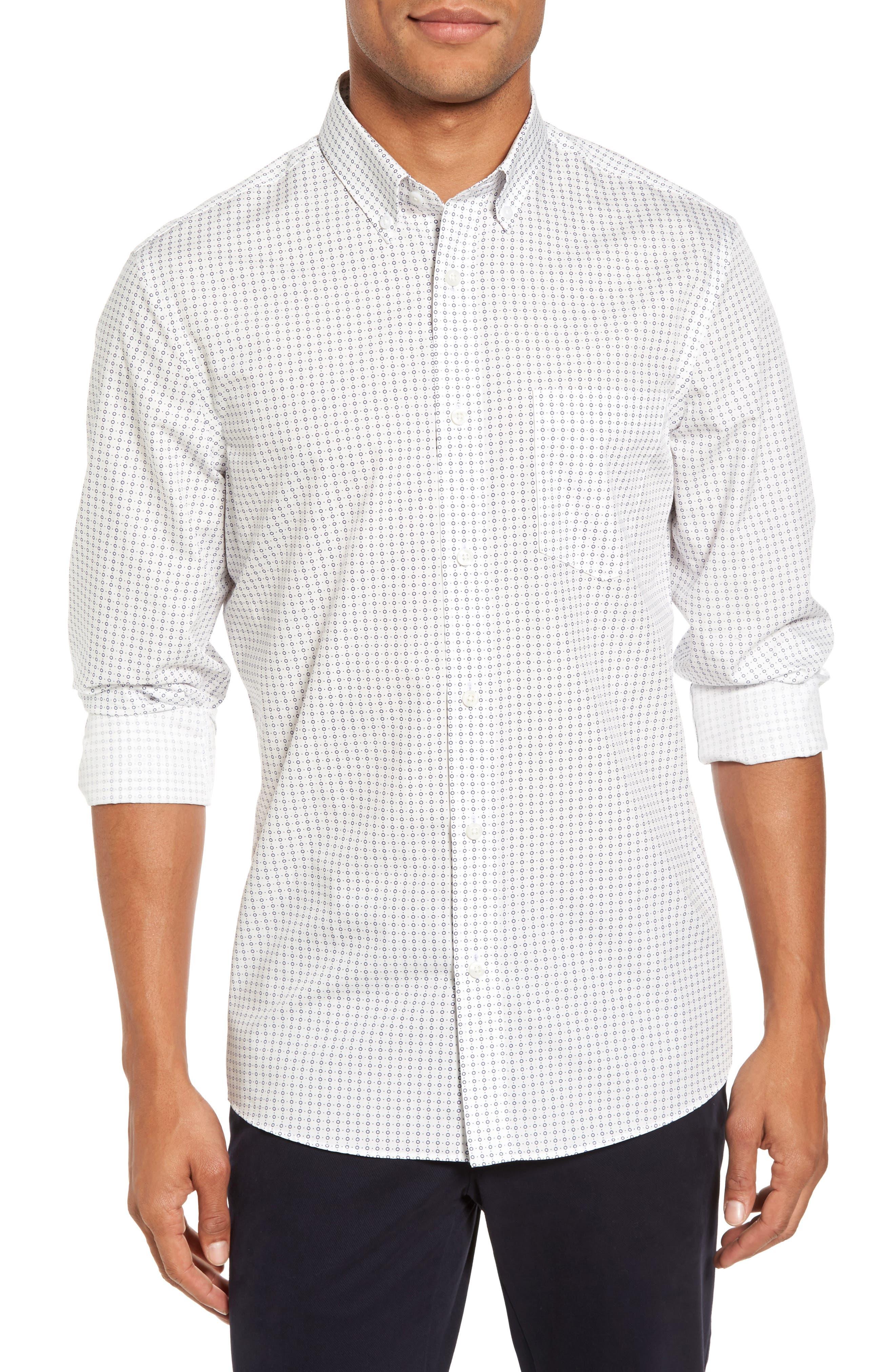 Trim Fit Non-Iron Circle Print Sport Shirt,                         Main,                         color, Ivory Egret Circle Print