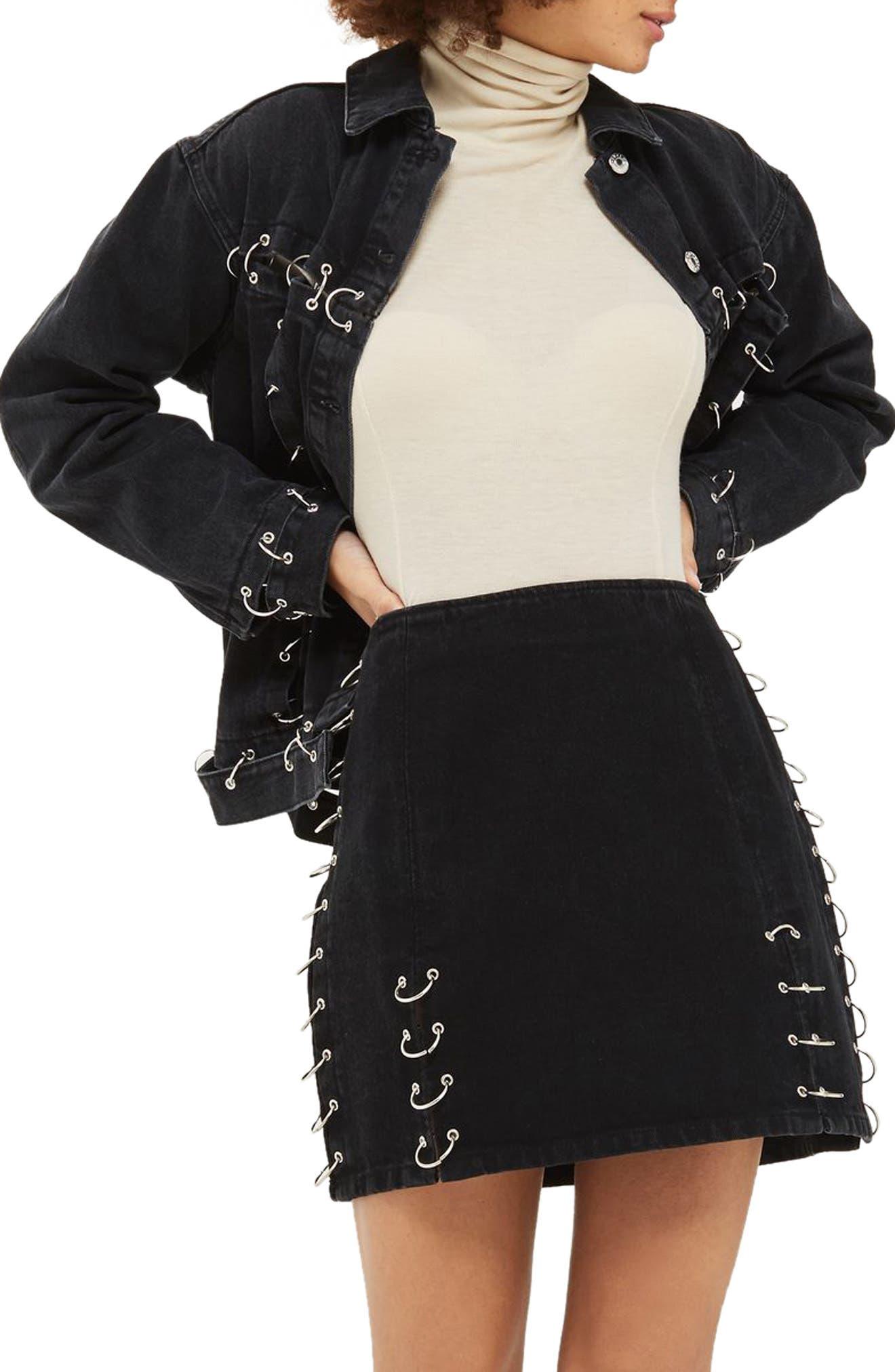Topshop Piercing Denim Miniskirt