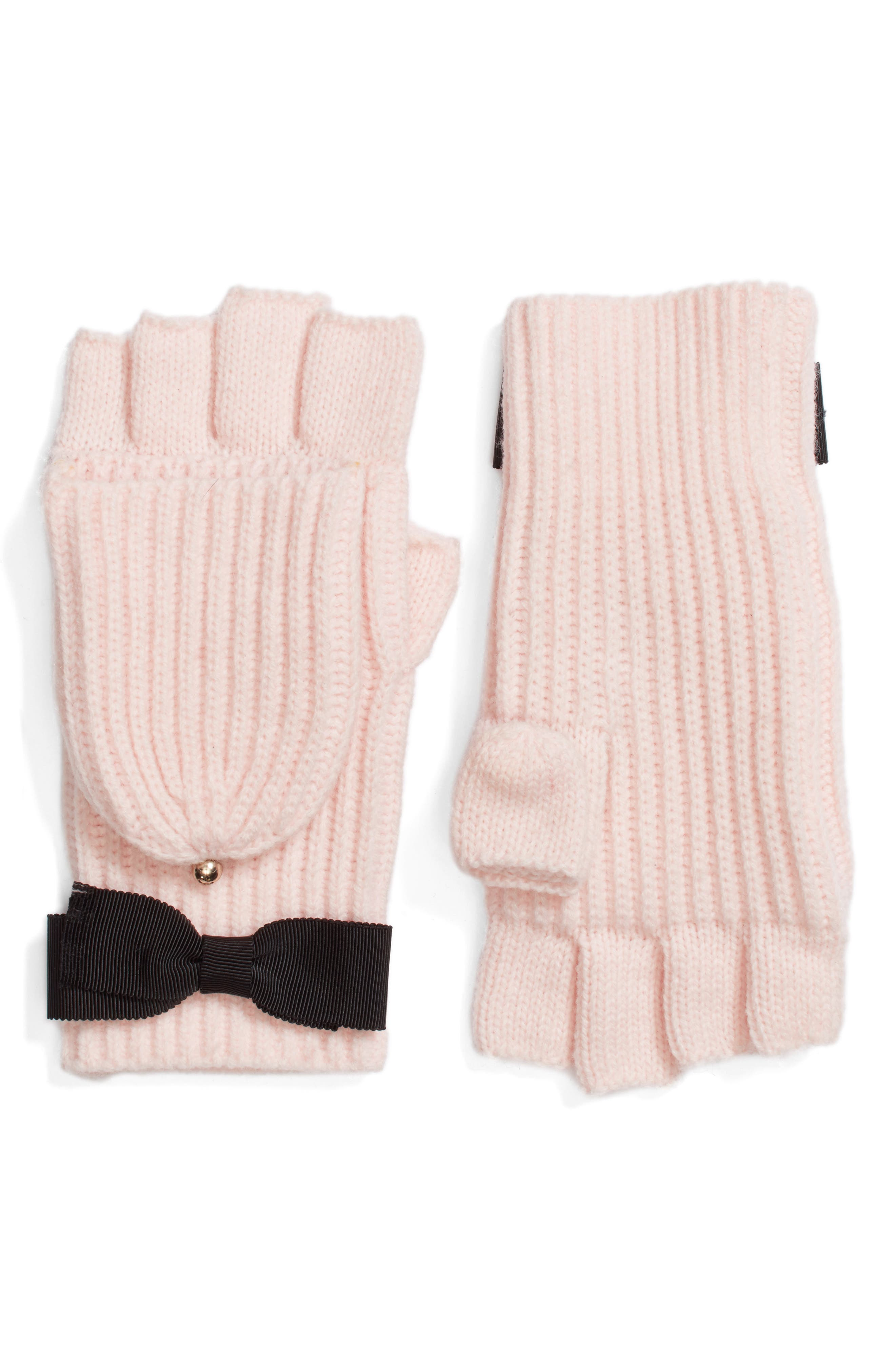 kate spade new york grosgrain bow convertible knit mittens