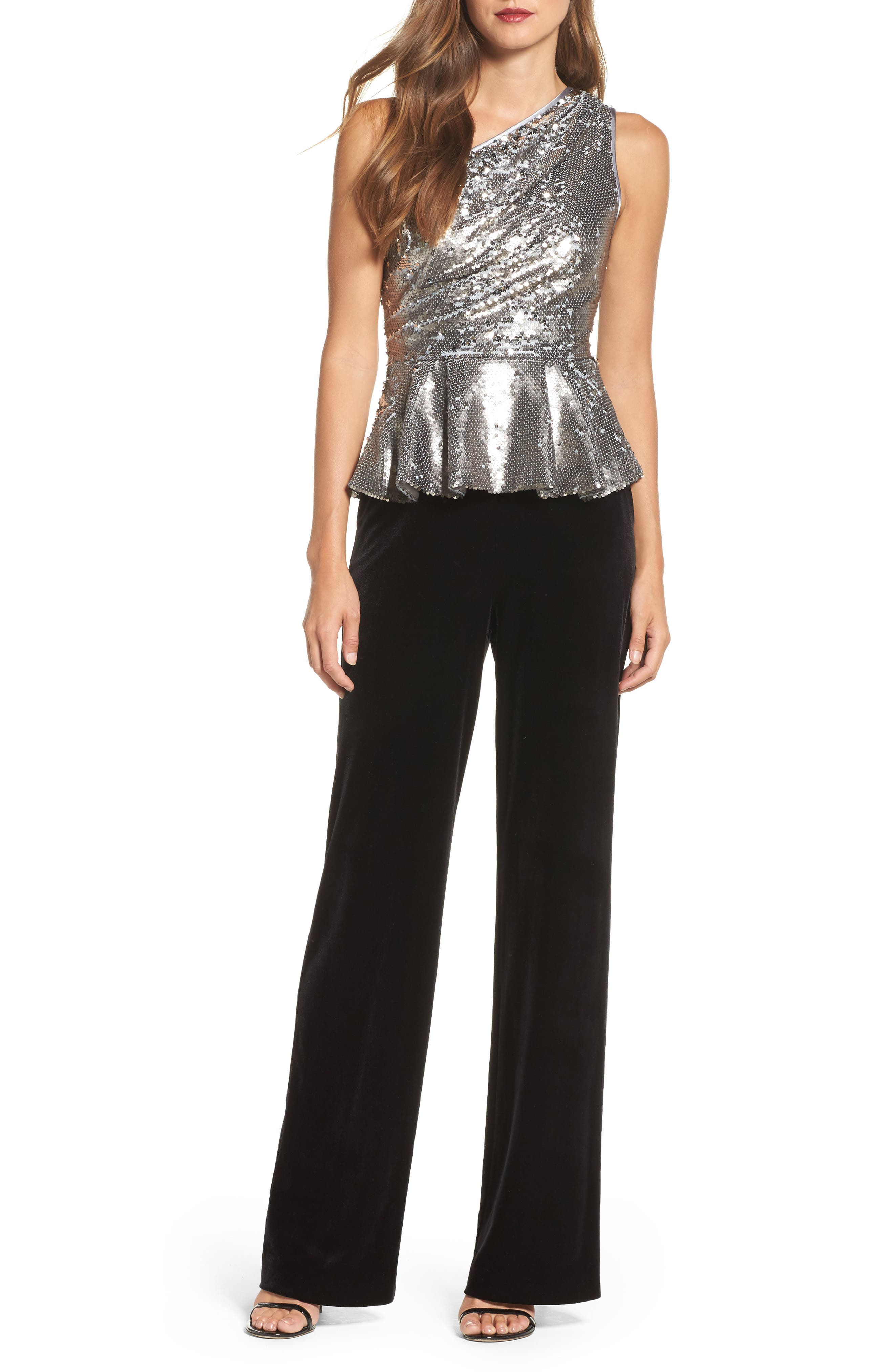 One-Shoulder Sequin Peplum Top,                             Alternate thumbnail 3, color,                             Silver