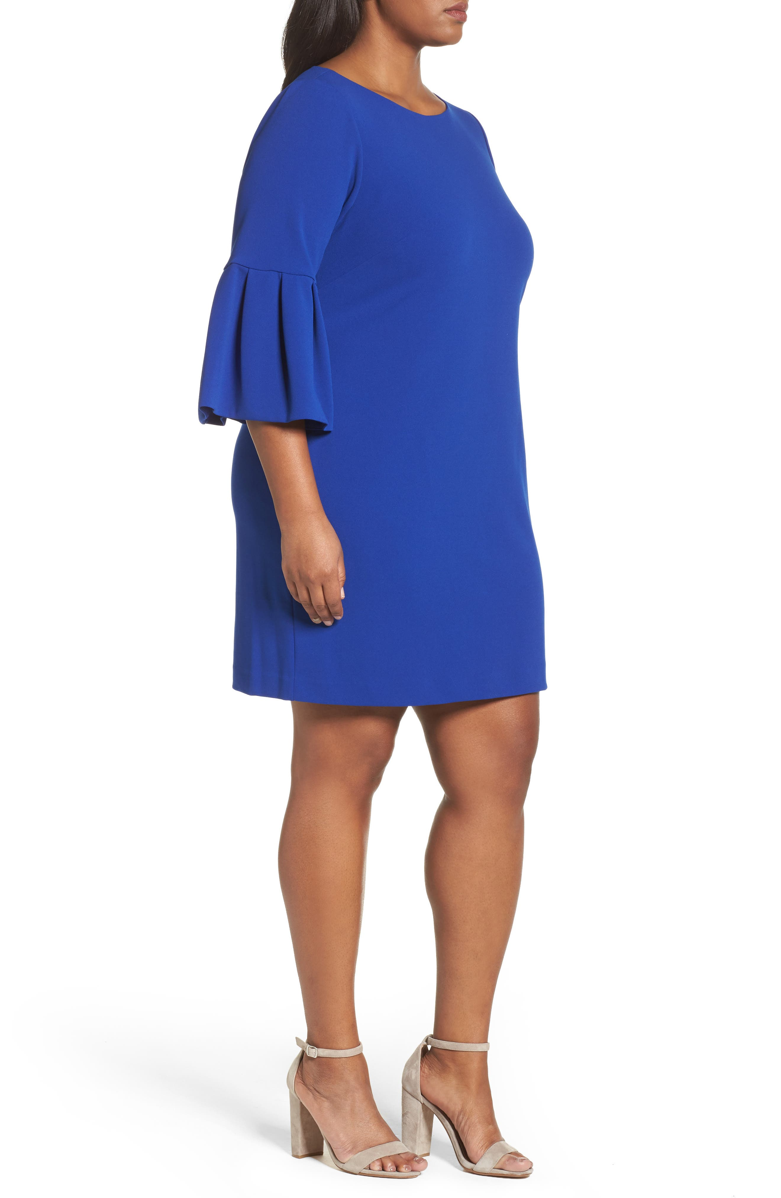 Bell Sleeve Shift Dress,                             Alternate thumbnail 3, color,                             Royal