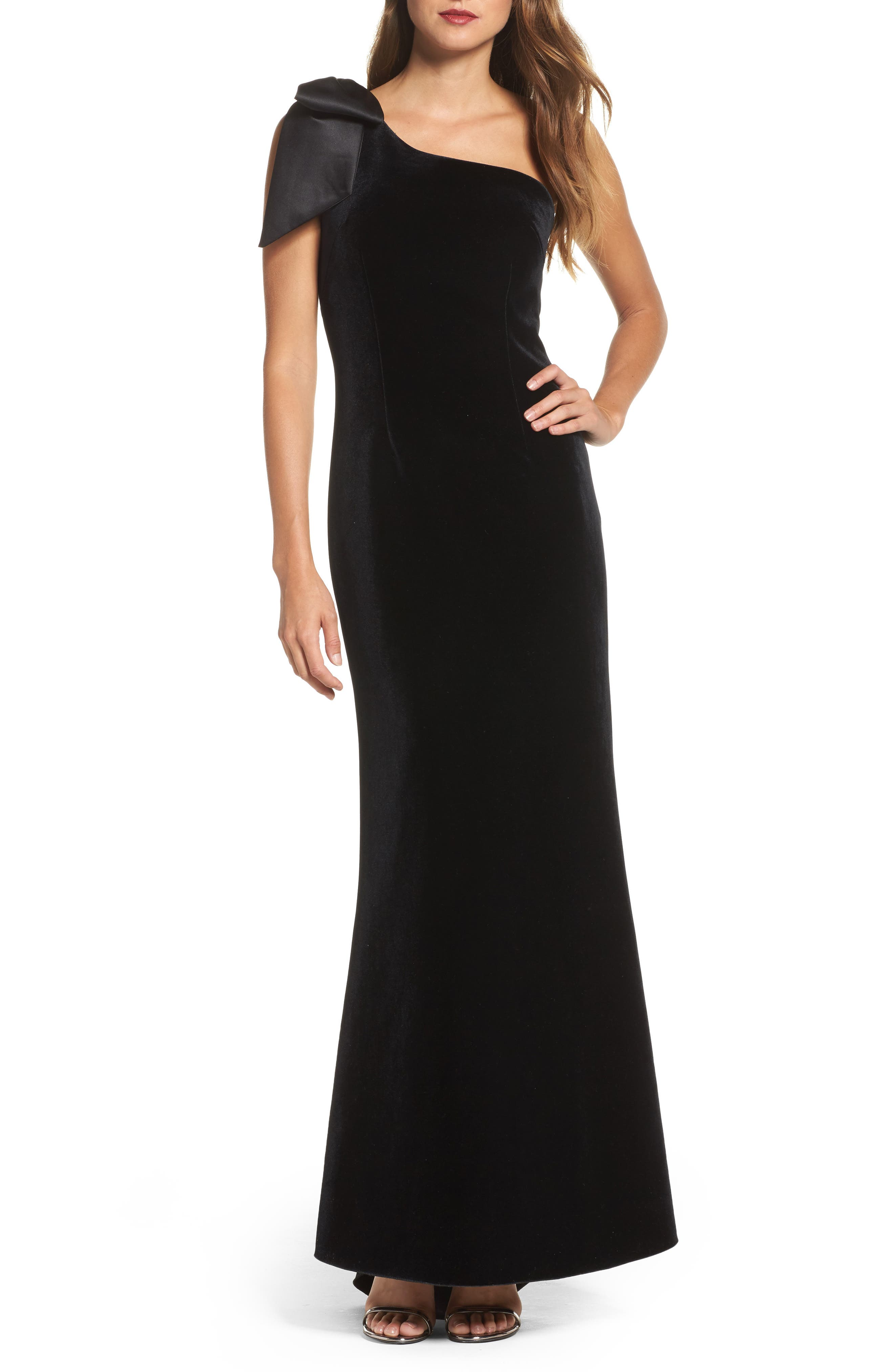 Bow One-Shoulder Velvet Gown,                             Main thumbnail 1, color,                             Black