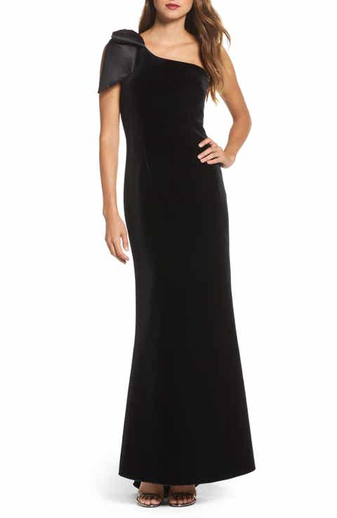 Eliza J Bow One-Shoulder Velvet Gown (Regular & Petite)