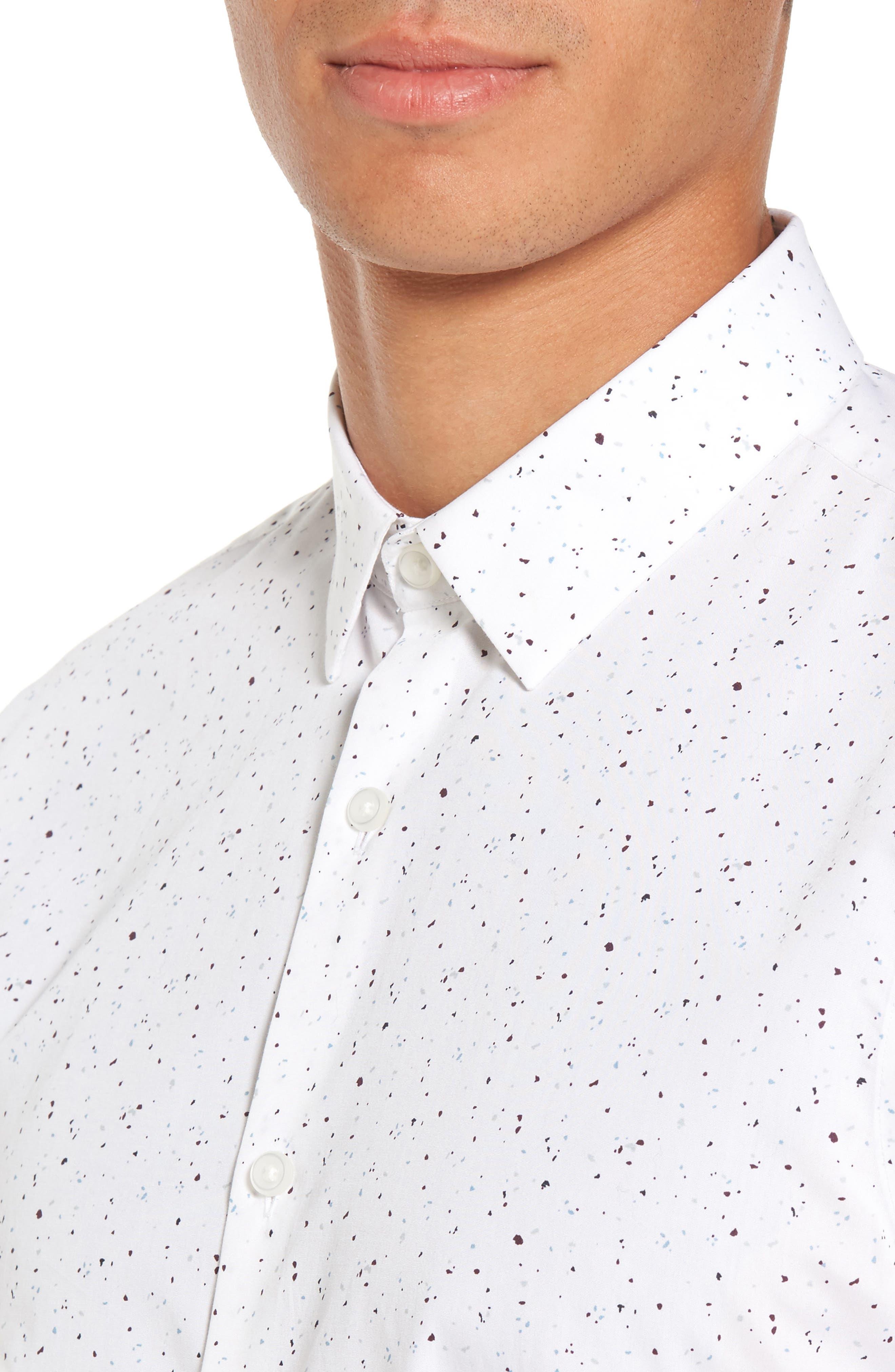 Speckle Print Sport Shirt,                             Alternate thumbnail 4, color,                             White Plum Splatter Print