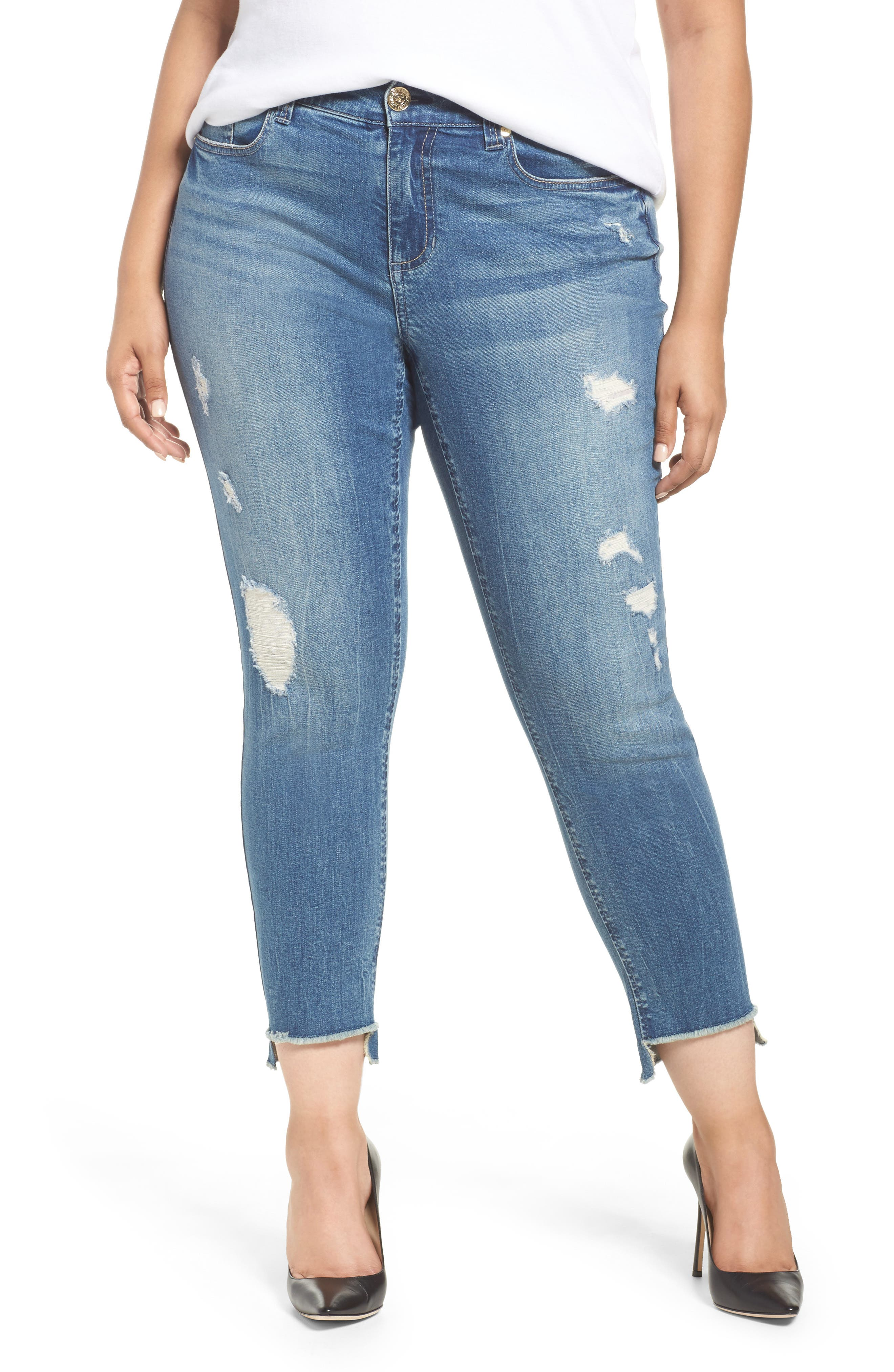 Main Image - Seven7 High/Low Ankle Skinny Jeans (Molokai) (Plus Size)
