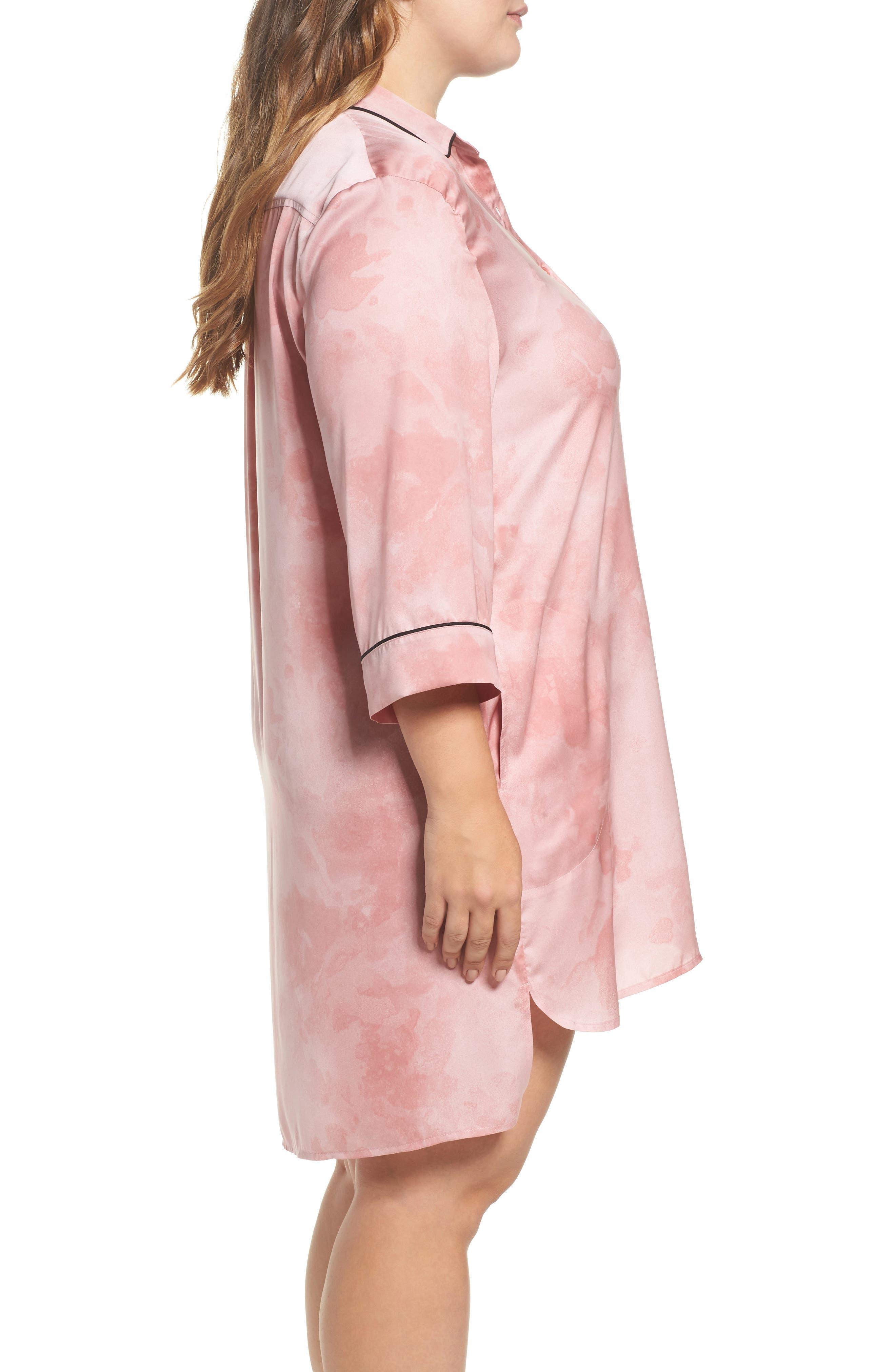 Washed Satin Sleep Shirt,                             Alternate thumbnail 3, color,                             Pink Floral