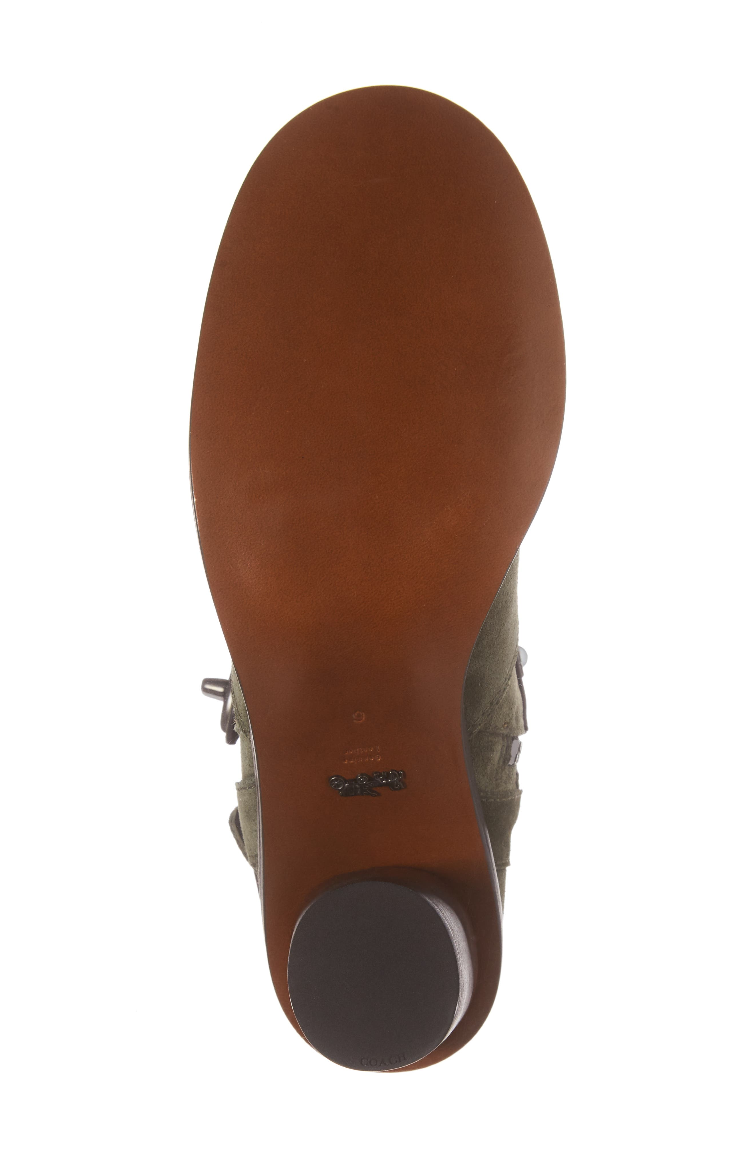 Studded Western Boot,                             Alternate thumbnail 6, color,                             Olive Suede