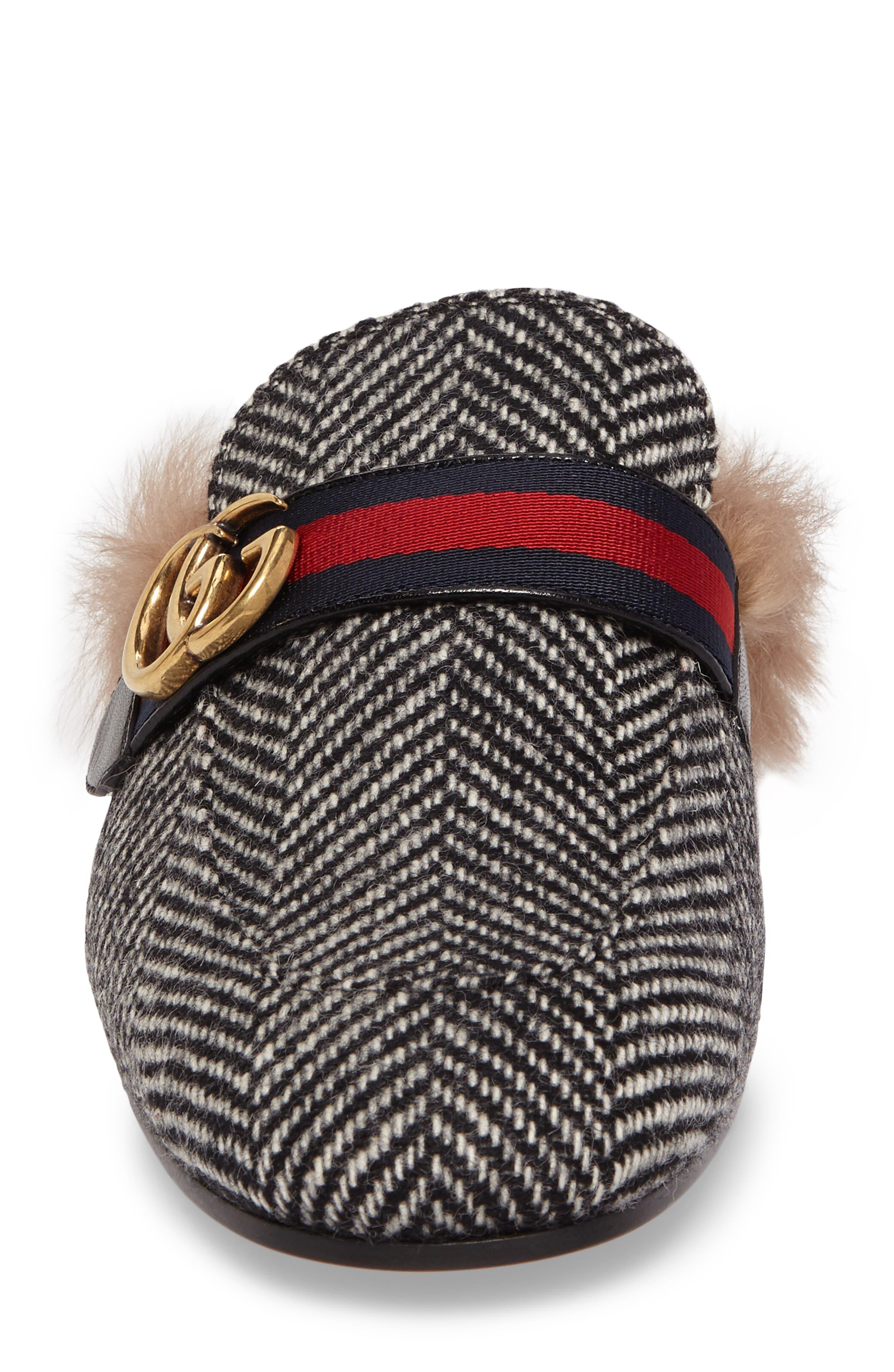 Alternate Image 4  - Gucci New Princetown Genuine Shearling Herringbone Loafer Mule (Men)
