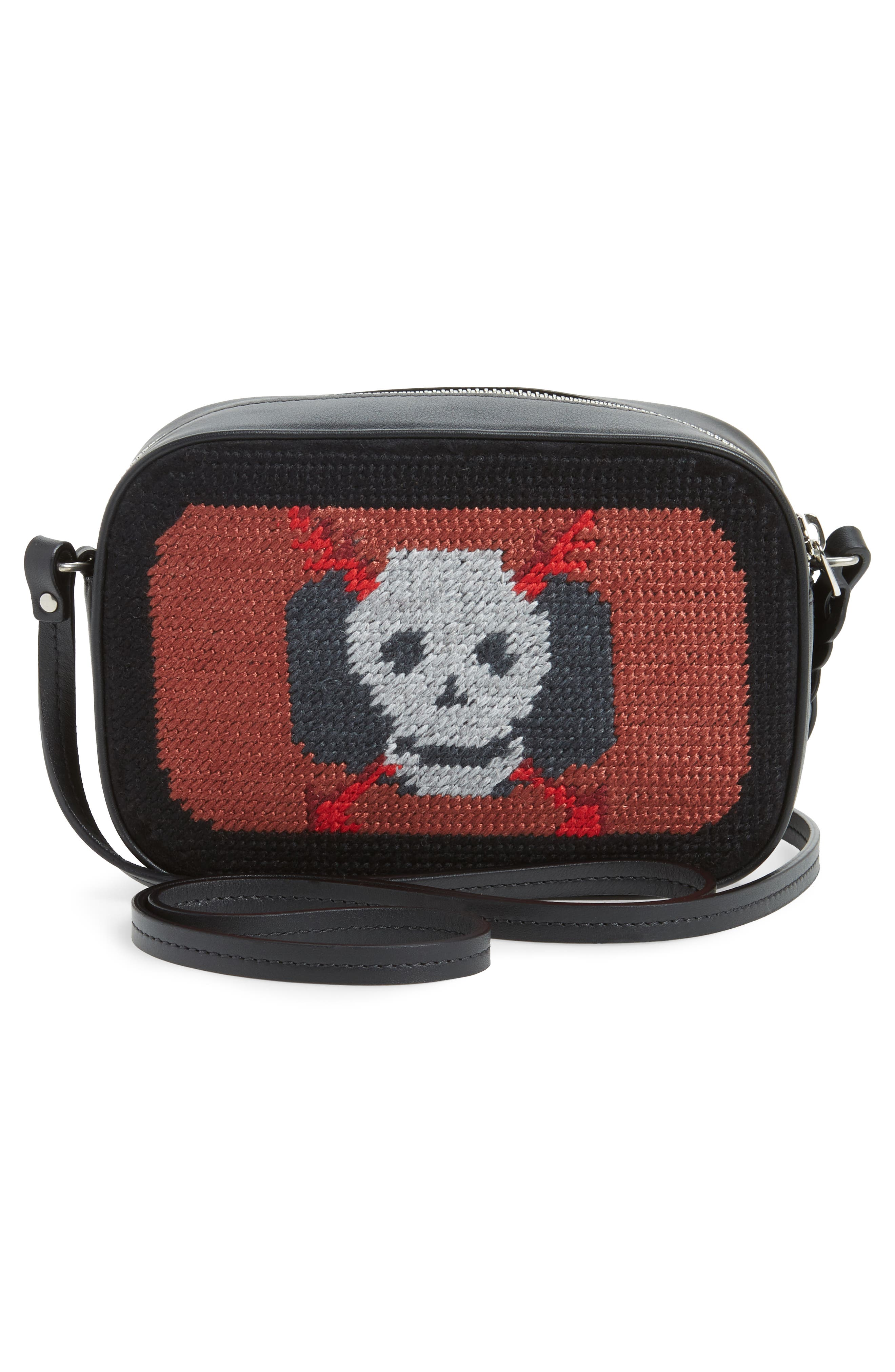 Small Embroidered Leather Camera Bag,                             Alternate thumbnail 3, color,                             Black Multicolor