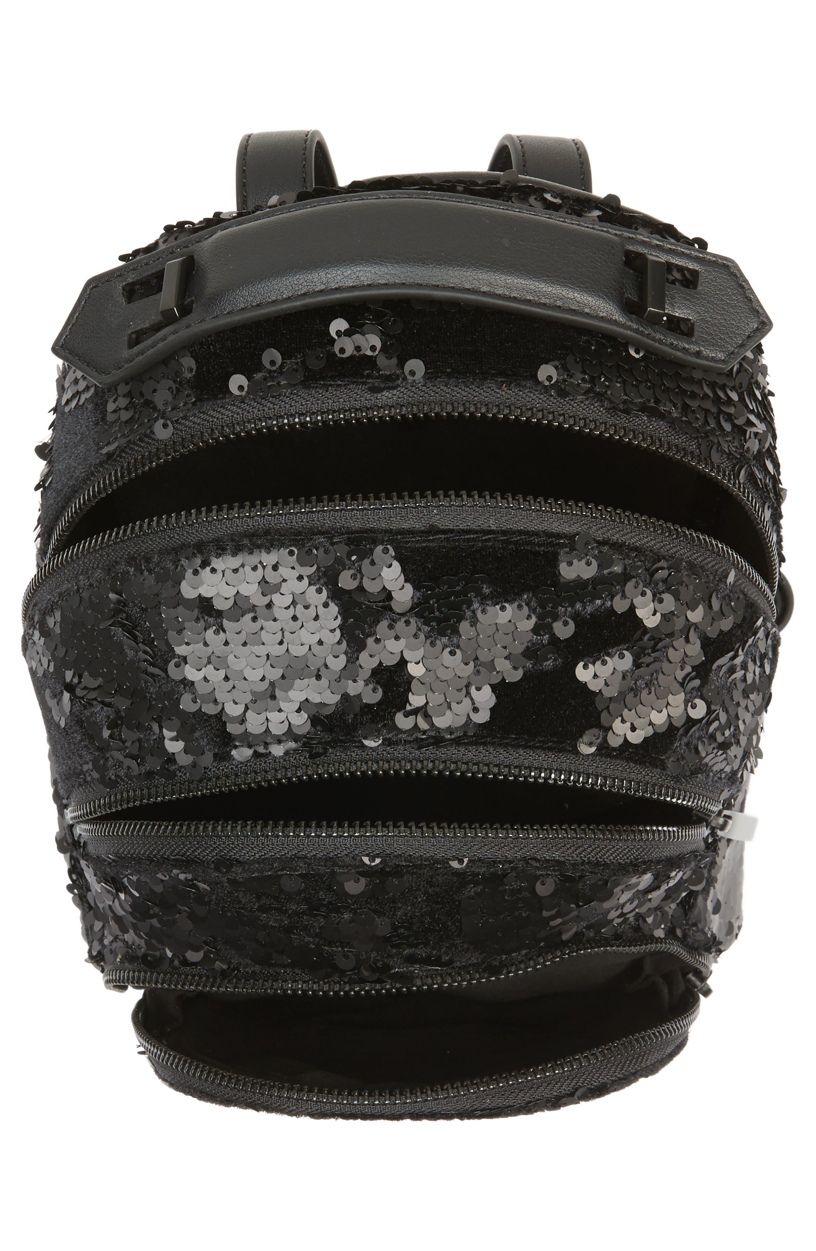 Mini Sloane Velvet & Sequin Backpack,                             Alternate thumbnail 3, color,                             Black Sequins