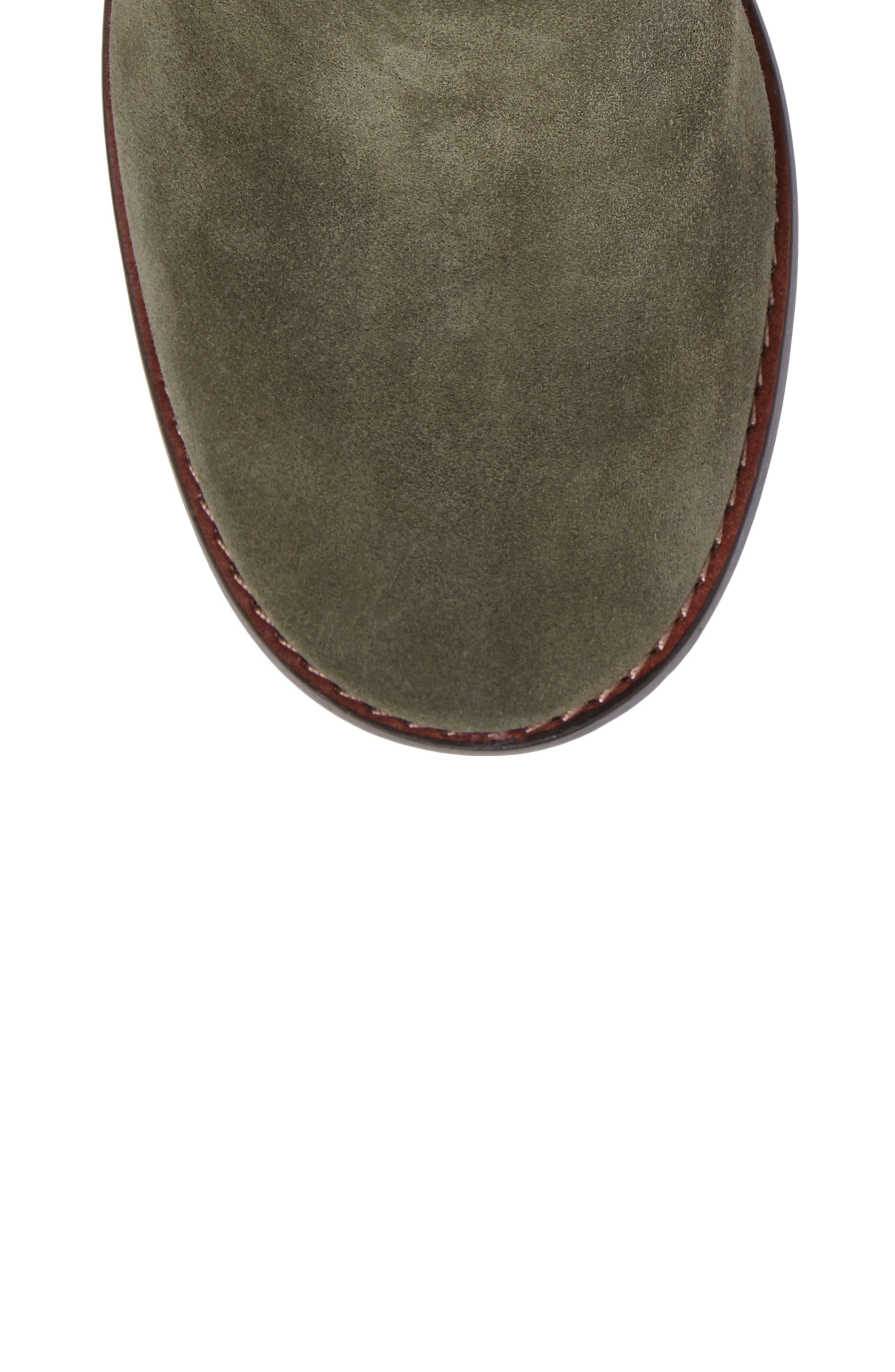 Studded Western Boot,                             Alternate thumbnail 5, color,                             Olive Suede