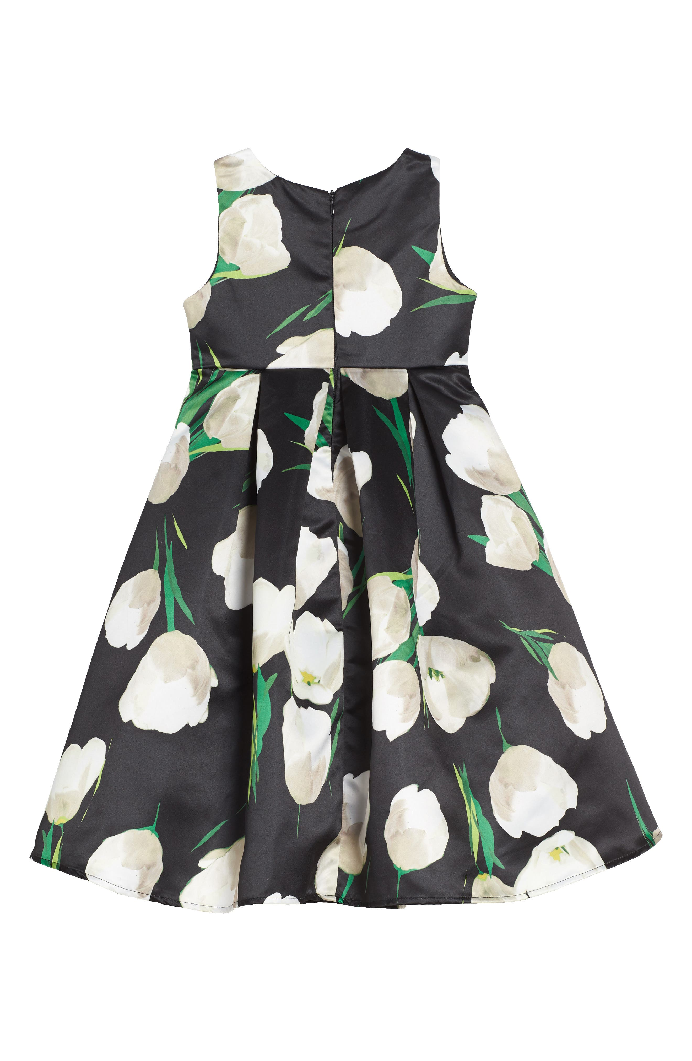 Tulip Print Dress,                             Alternate thumbnail 2, color,                             Black