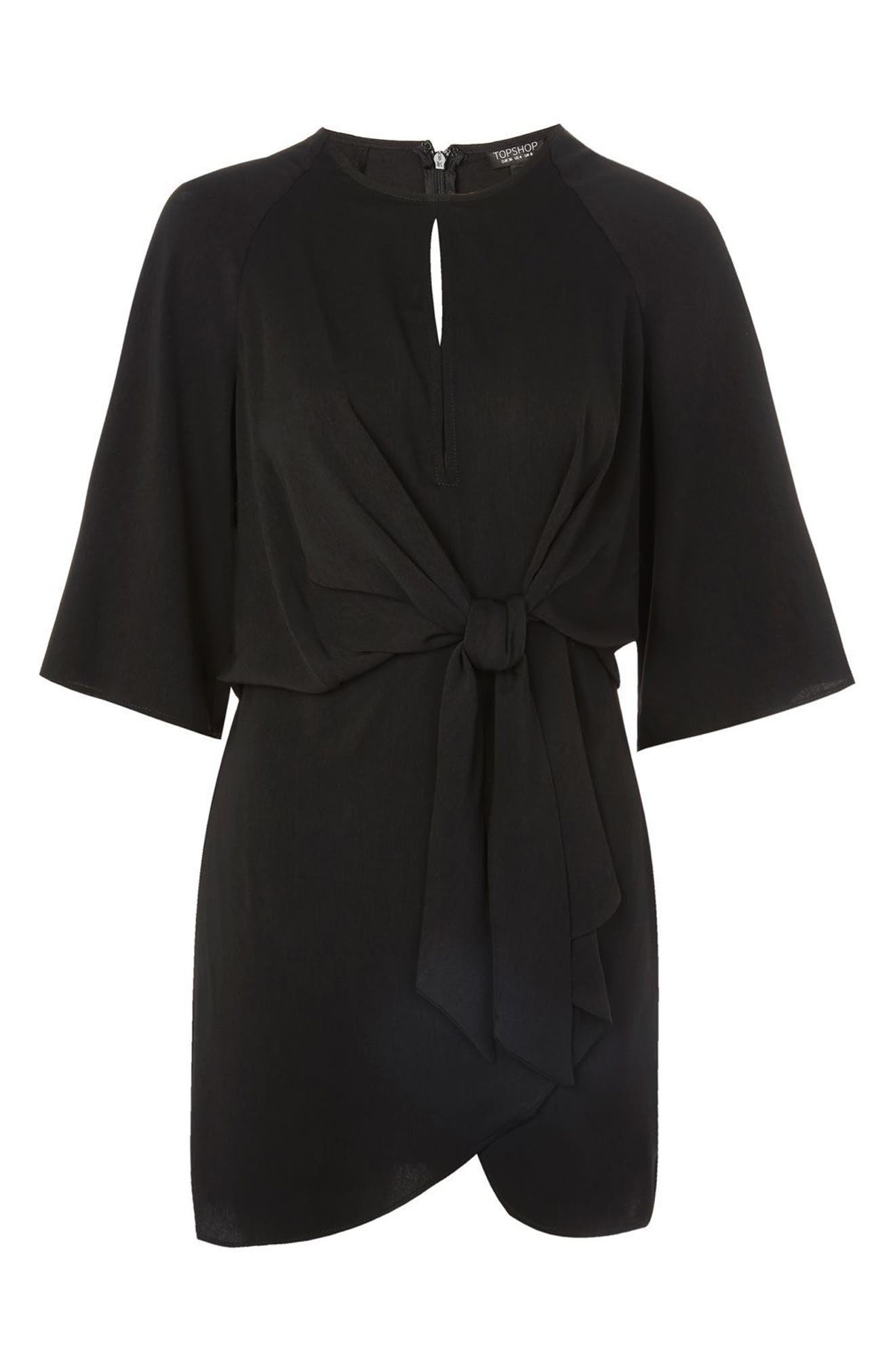 Tie Front Minidress,                             Alternate thumbnail 3, color,                             Black