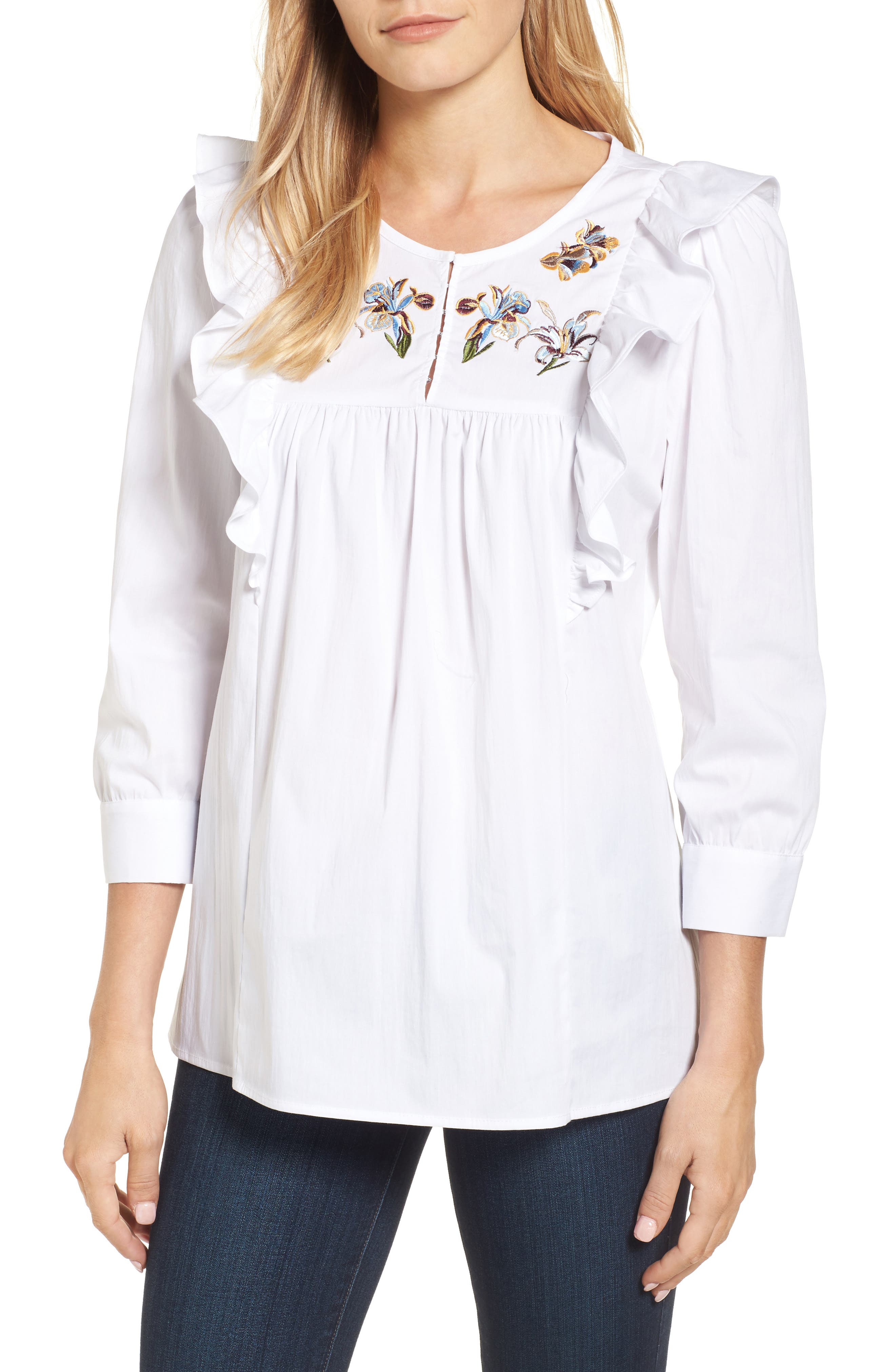 Jan Embroidered Bib Blouse,                         Main,                         color, Bright White