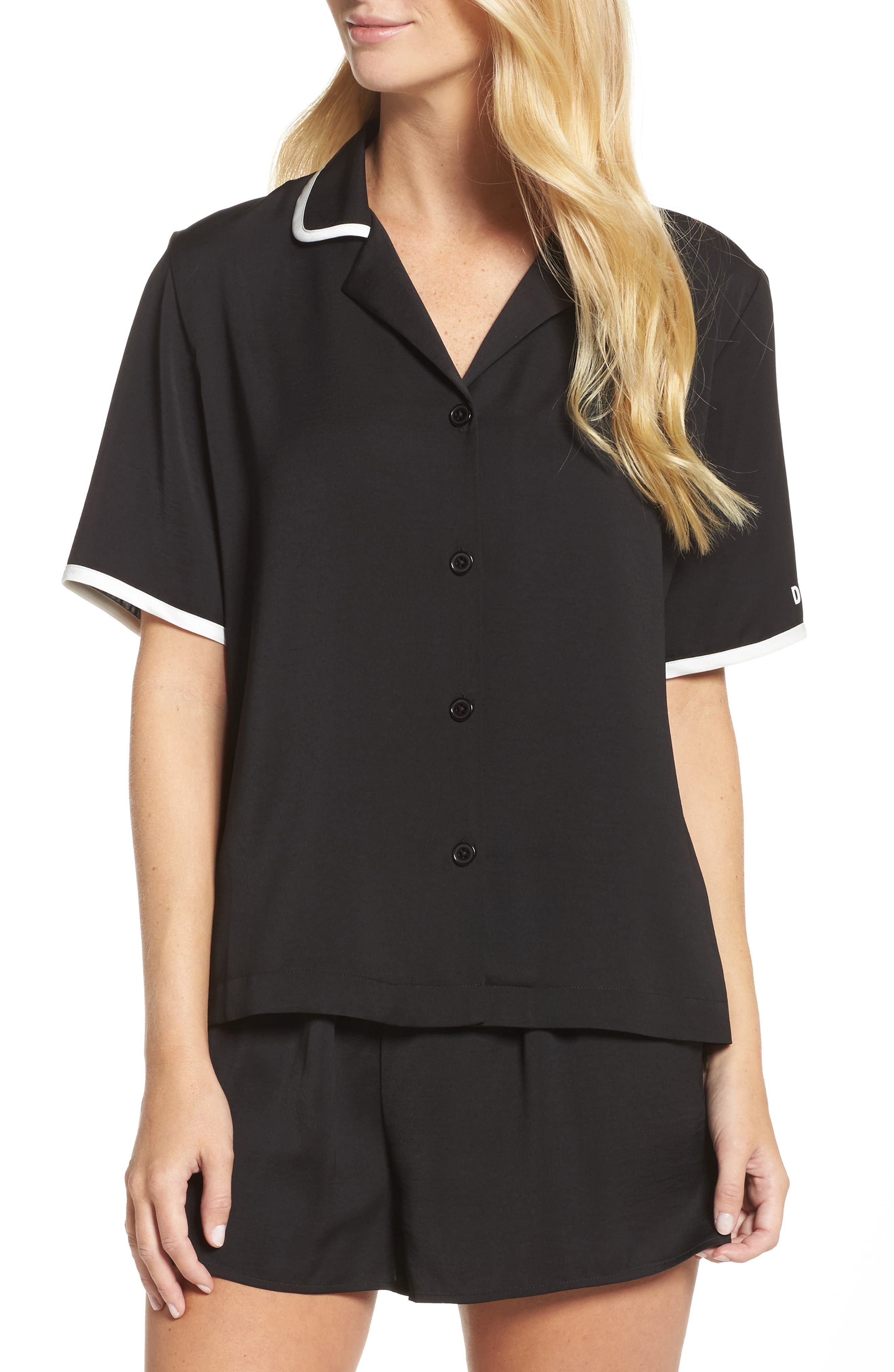 Washed Satin Short Pajamas & Eye Mask,                         Main,                         color, Black