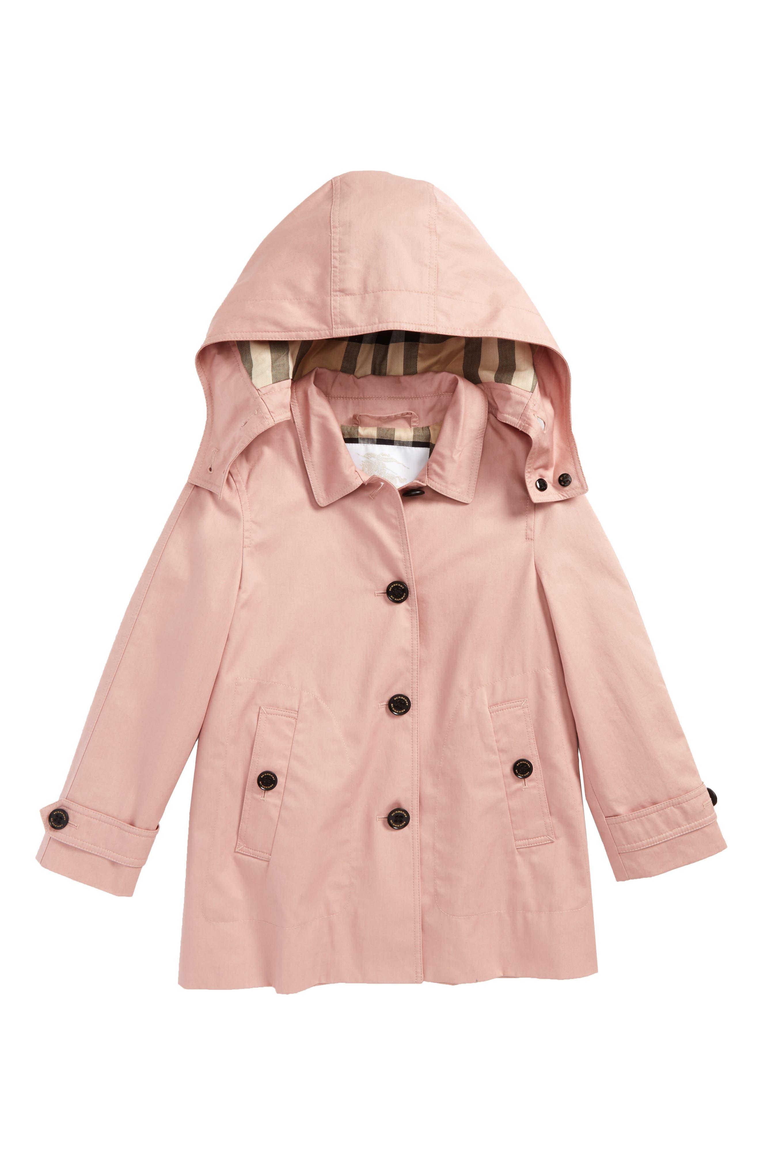 Main Image - Burberry Geri Hooded Trench Coat (Little Girls & Big Girls)