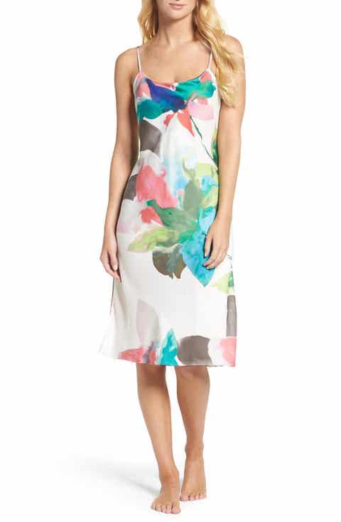 Natori Water Lily Print Satin Nightgown