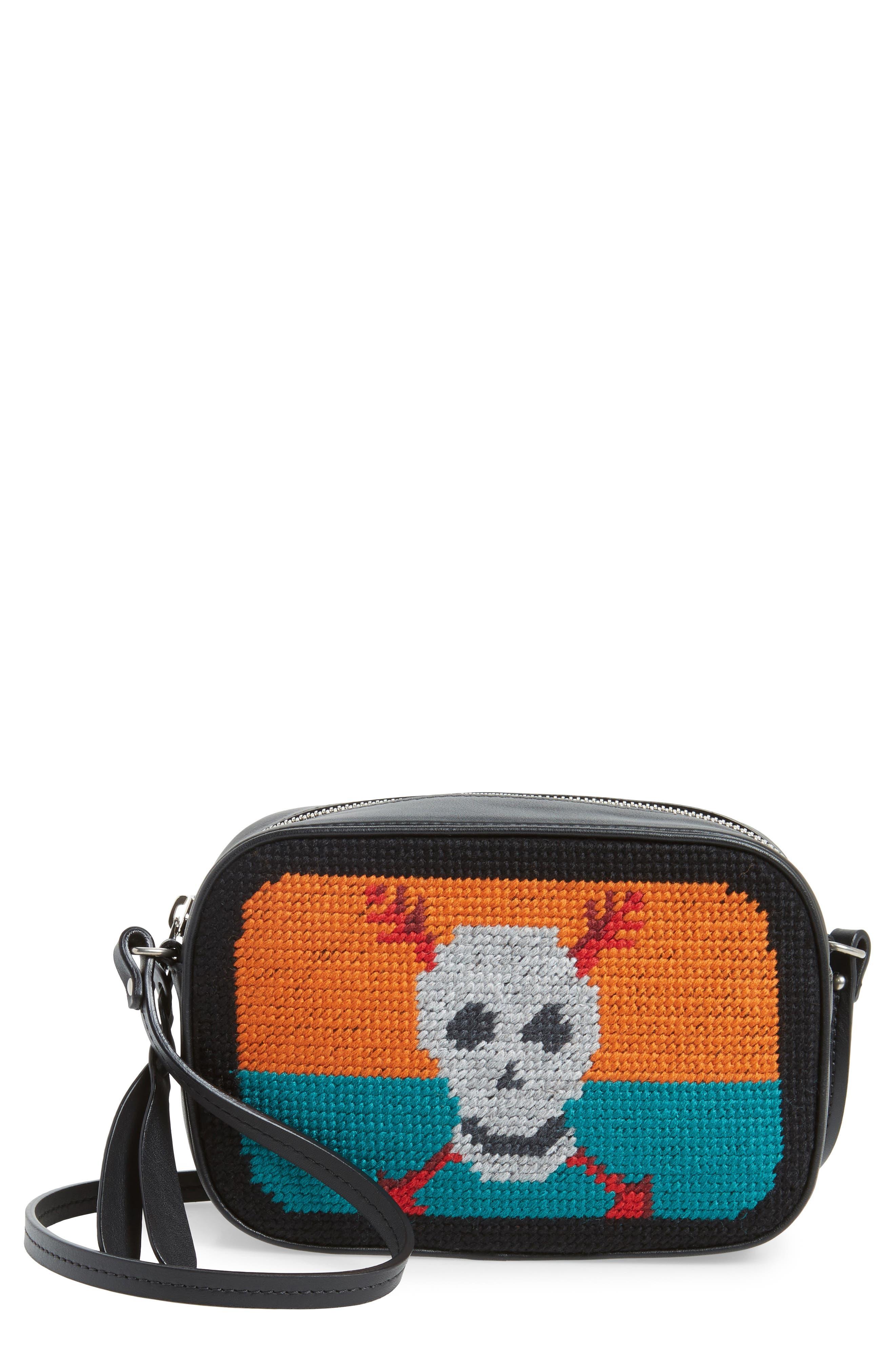 Small Embroidered Leather Camera Bag,                         Main,                         color, Black Multicolor
