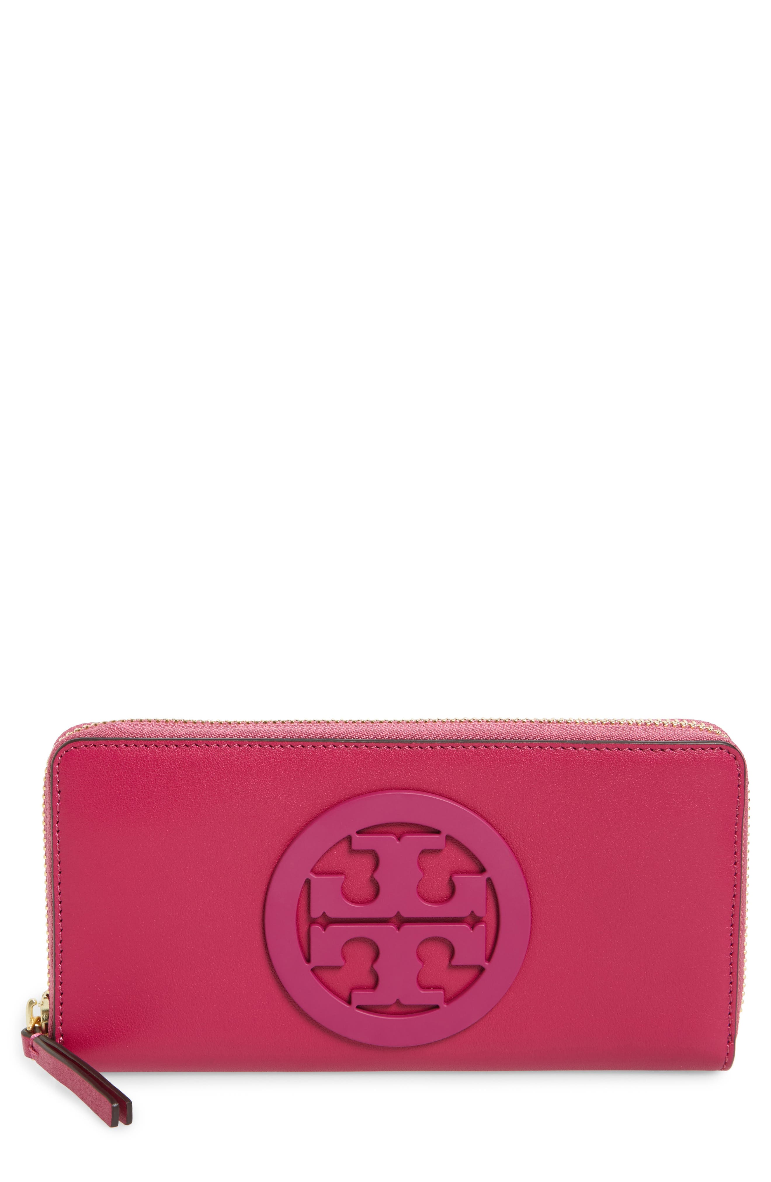 Charlie Leather Continental Wallet,                             Main thumbnail 1, color,                             Party Fuchsia