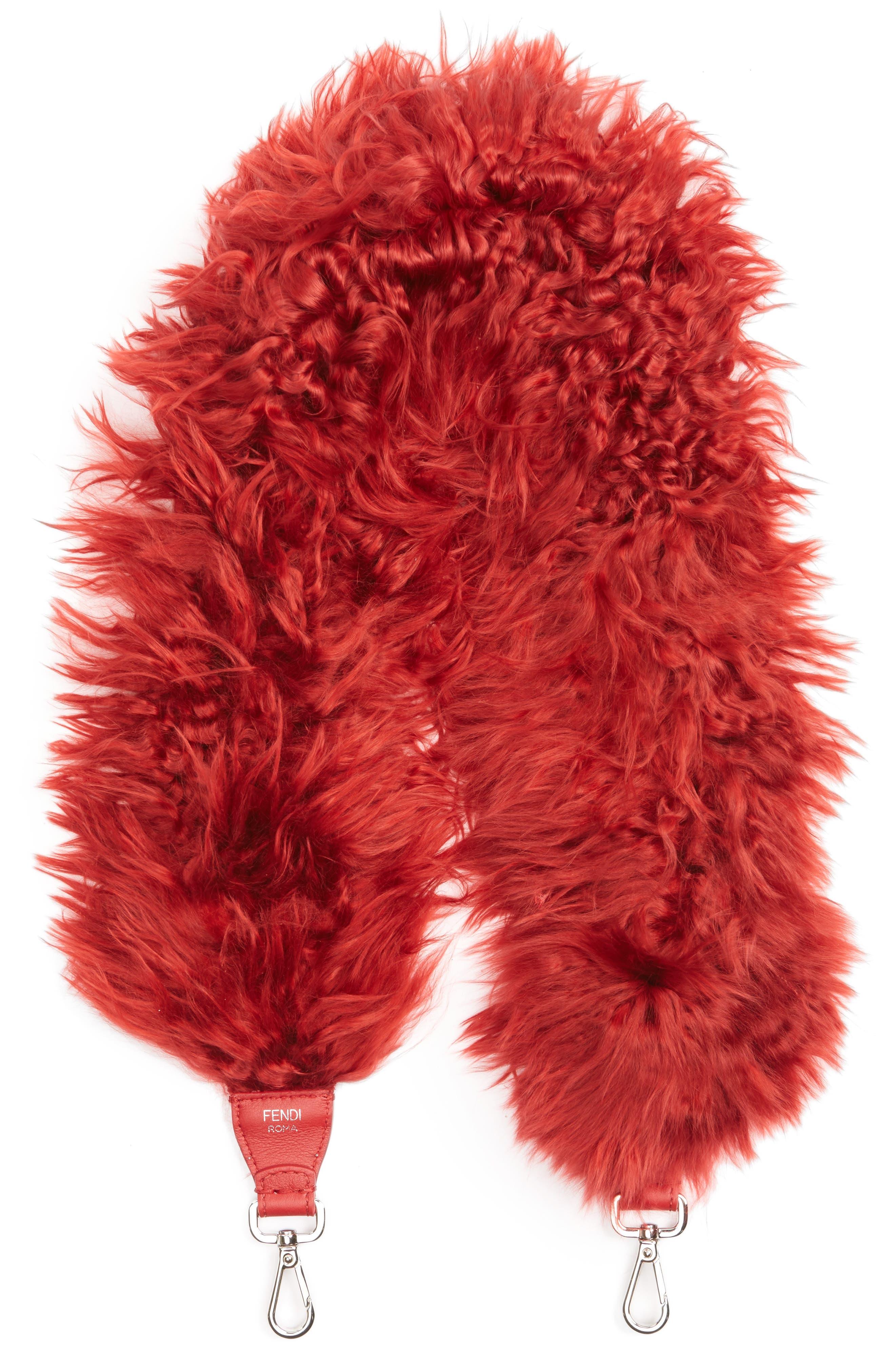 Genuine Alpaca Fur Guitar Strap,                         Main,                         color, Red