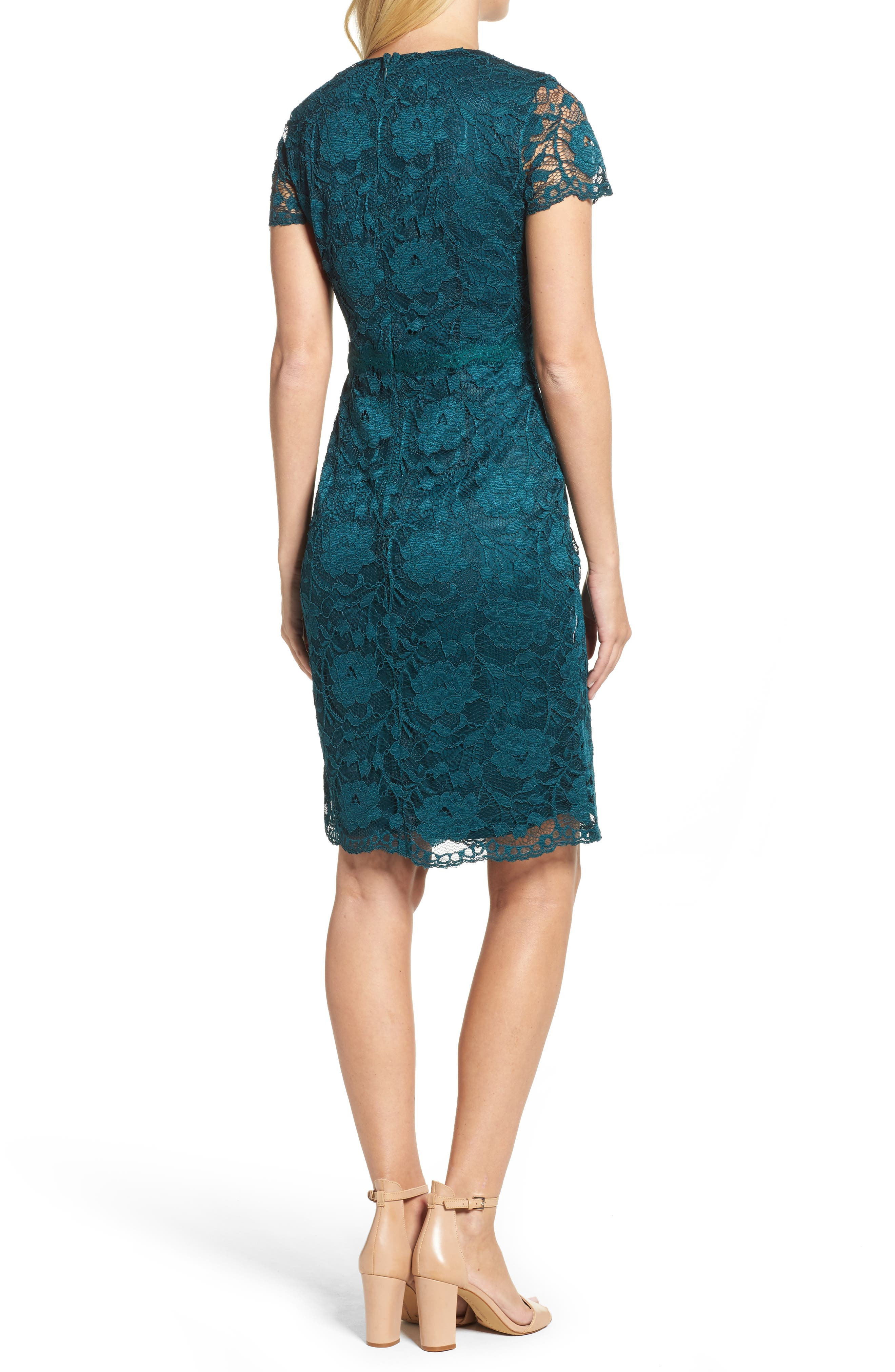 Lace Sheath Dress,                             Alternate thumbnail 2, color,                             Pine