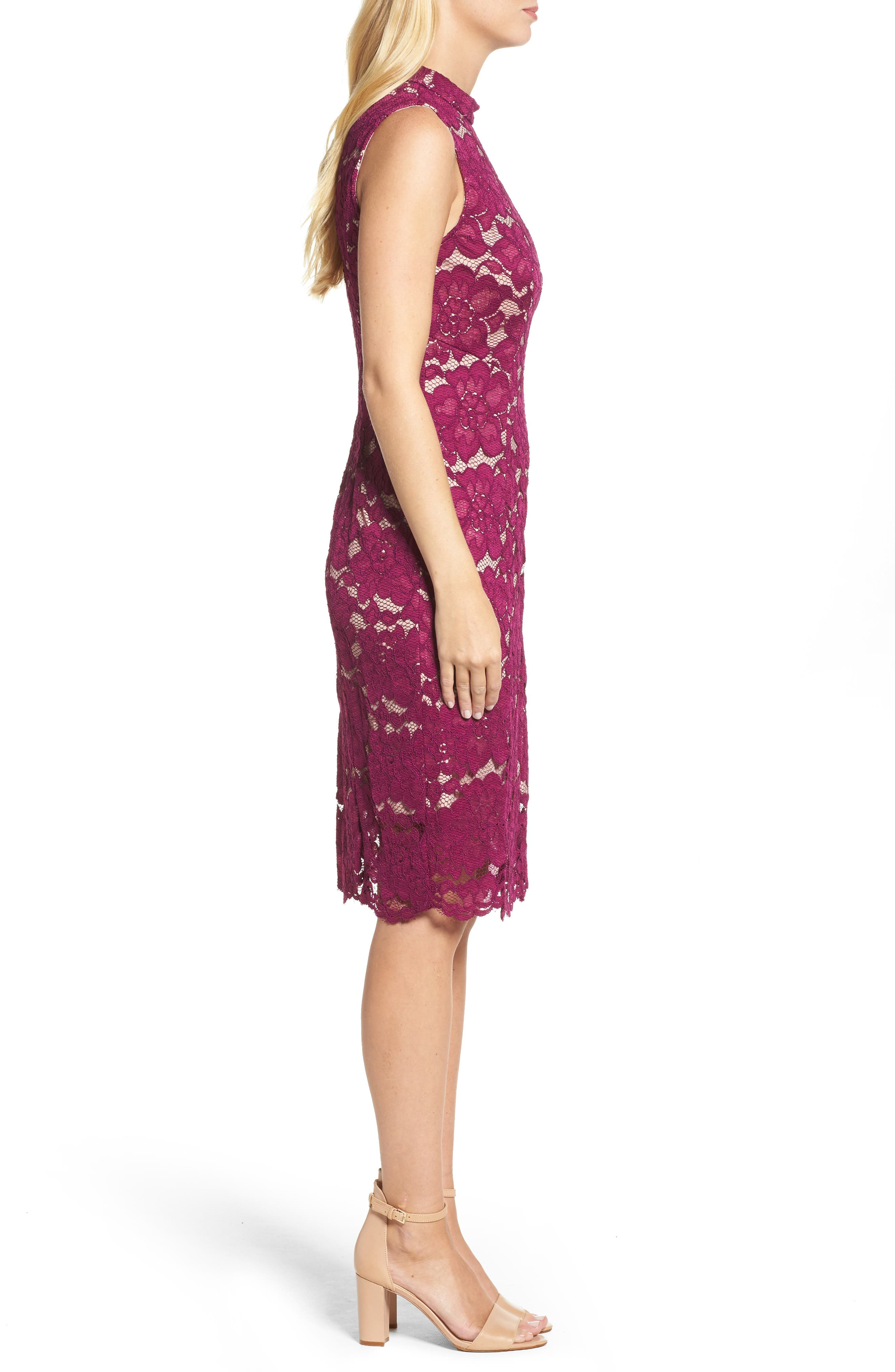 Twin Flower Lace Sheath Dress,                             Alternate thumbnail 3, color,                             Burgundy